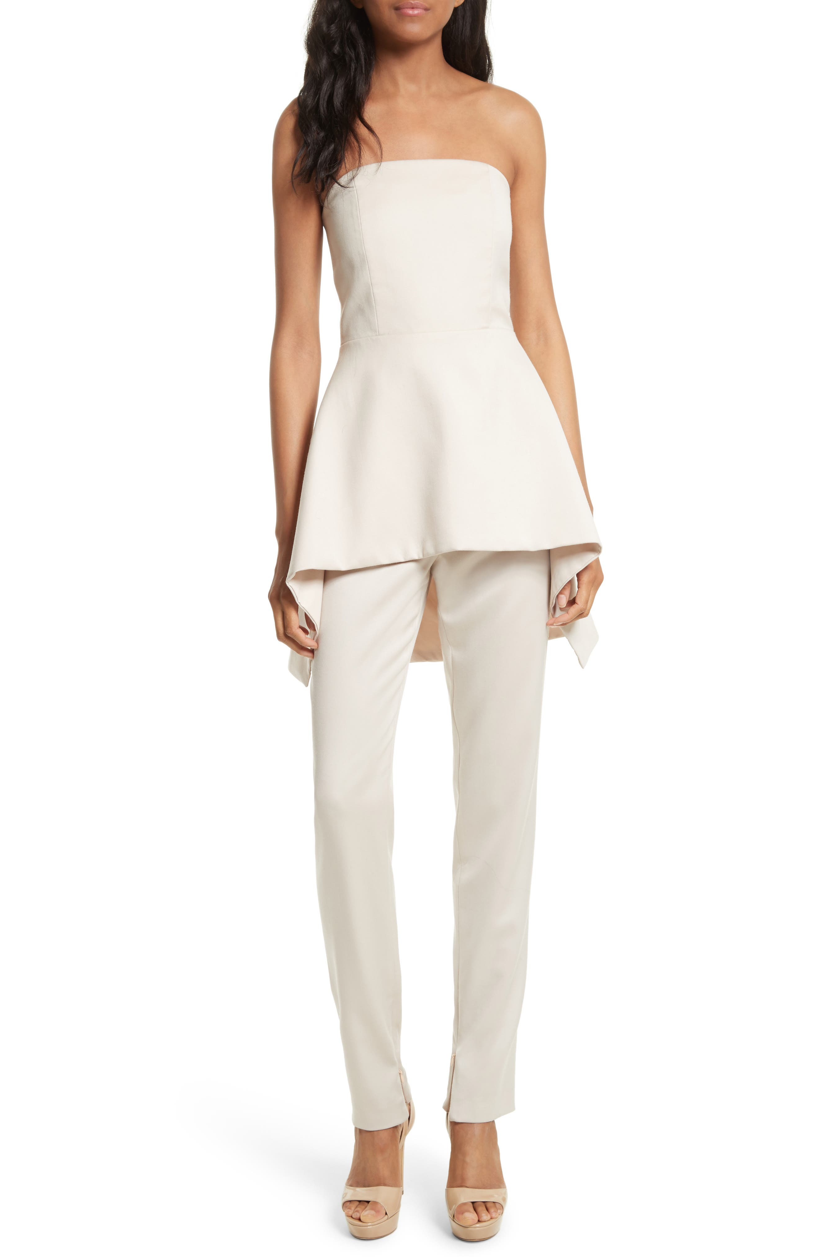 Duncan Strapless High/Low Peplum Top,                             Alternate thumbnail 2, color,                             Pale Nude