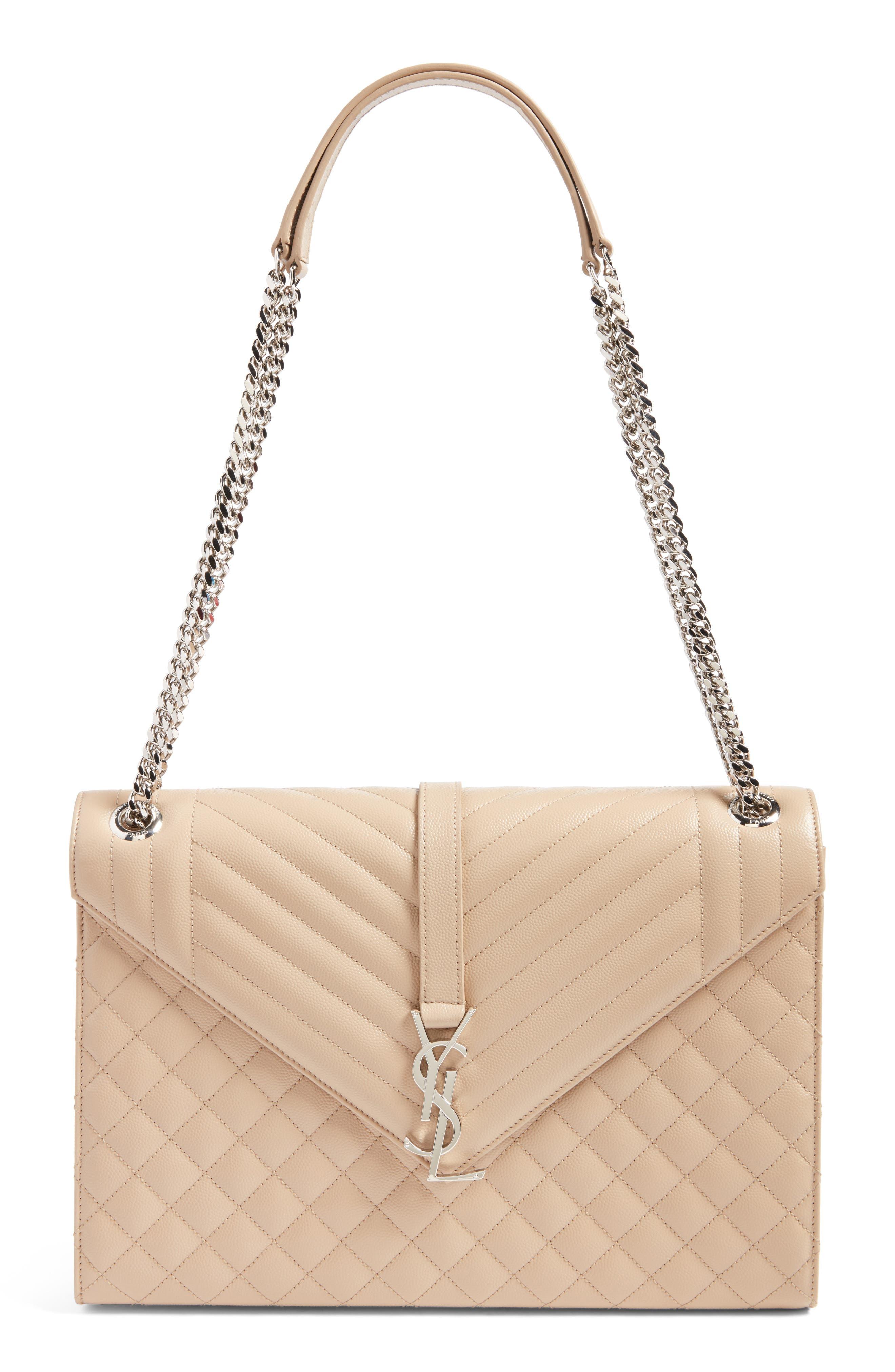 Saint Laurent Large Monogramme Calfskin Leather Shoulder Bag