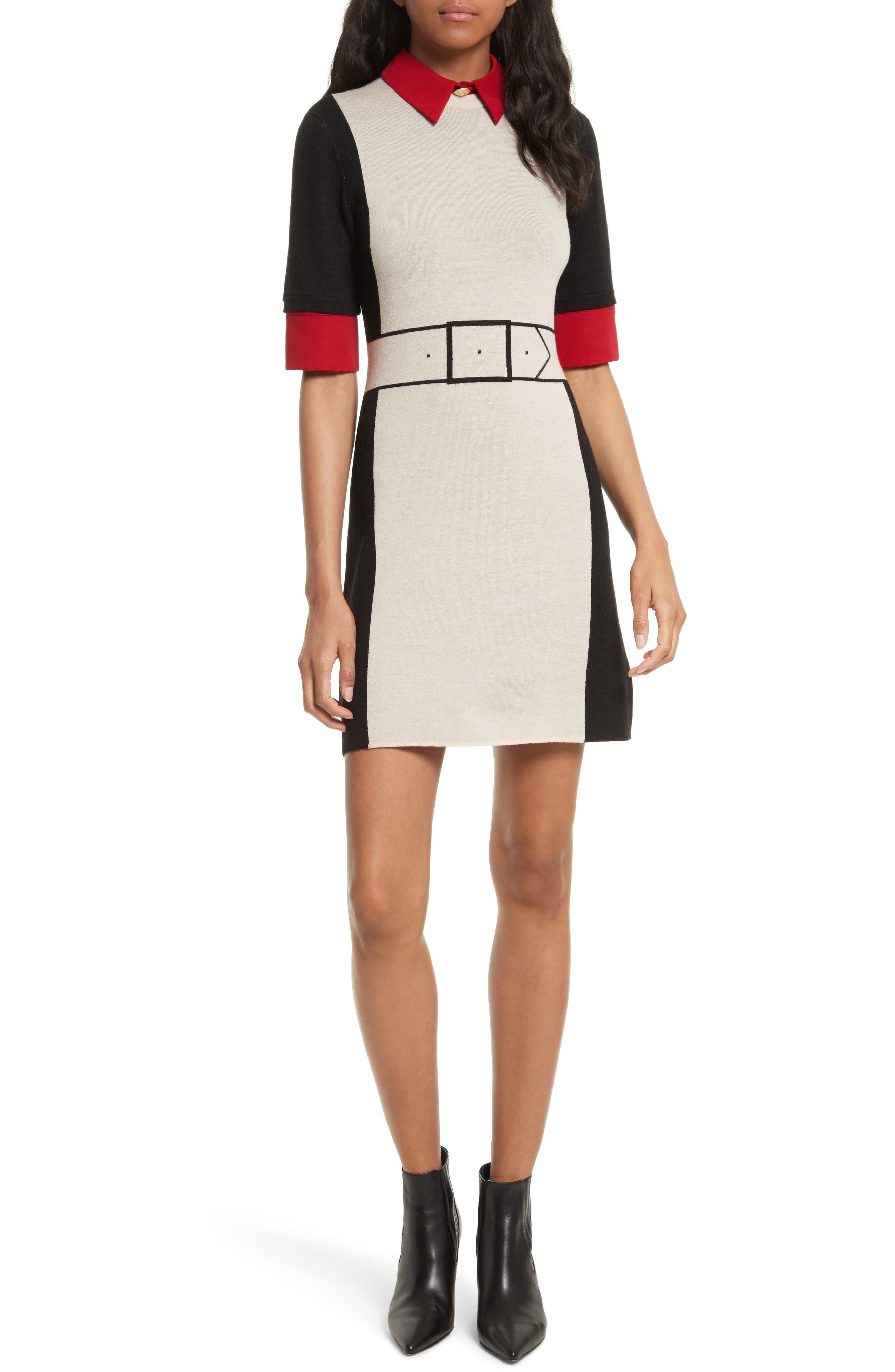 Mia Contrast Trim Sweater Dress,                         Main,                         color, Black/ Natural/ Red
