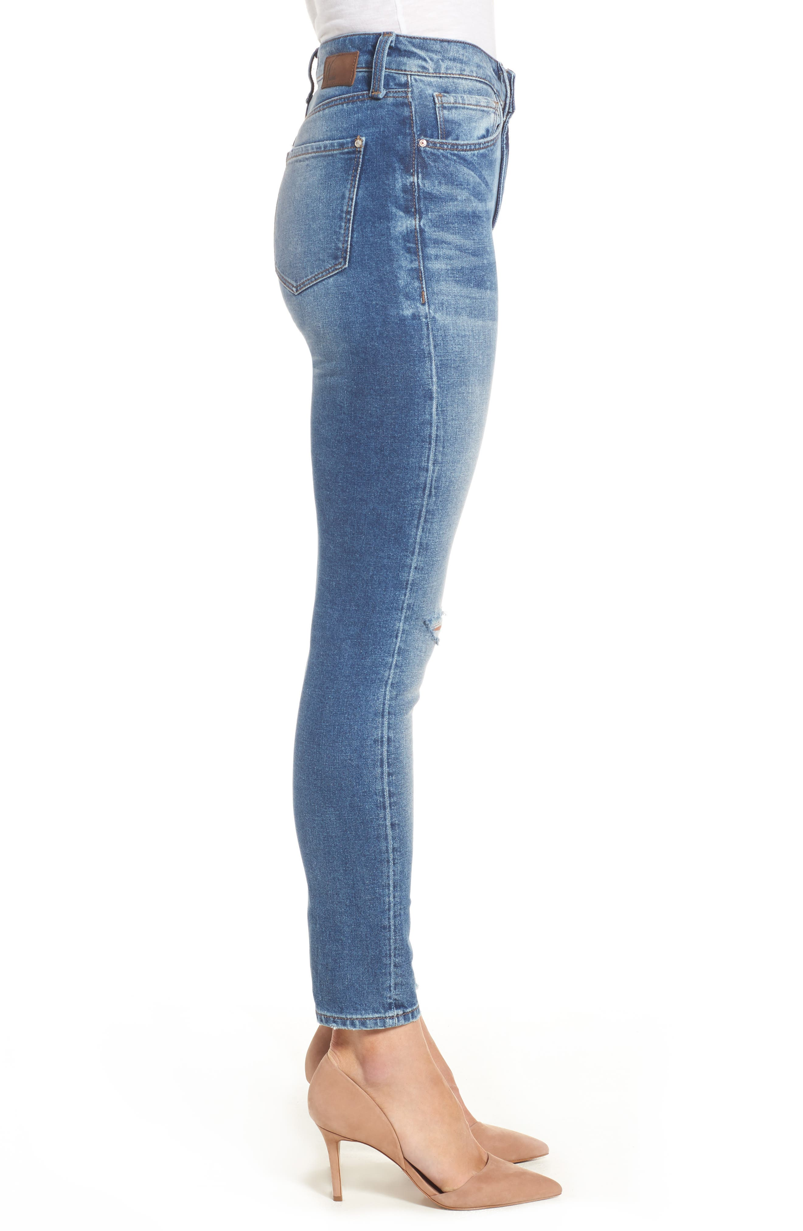 Alternate Image 3  - Mavi Jeans Lucy Ripped Skinny Jeans (Foggy)