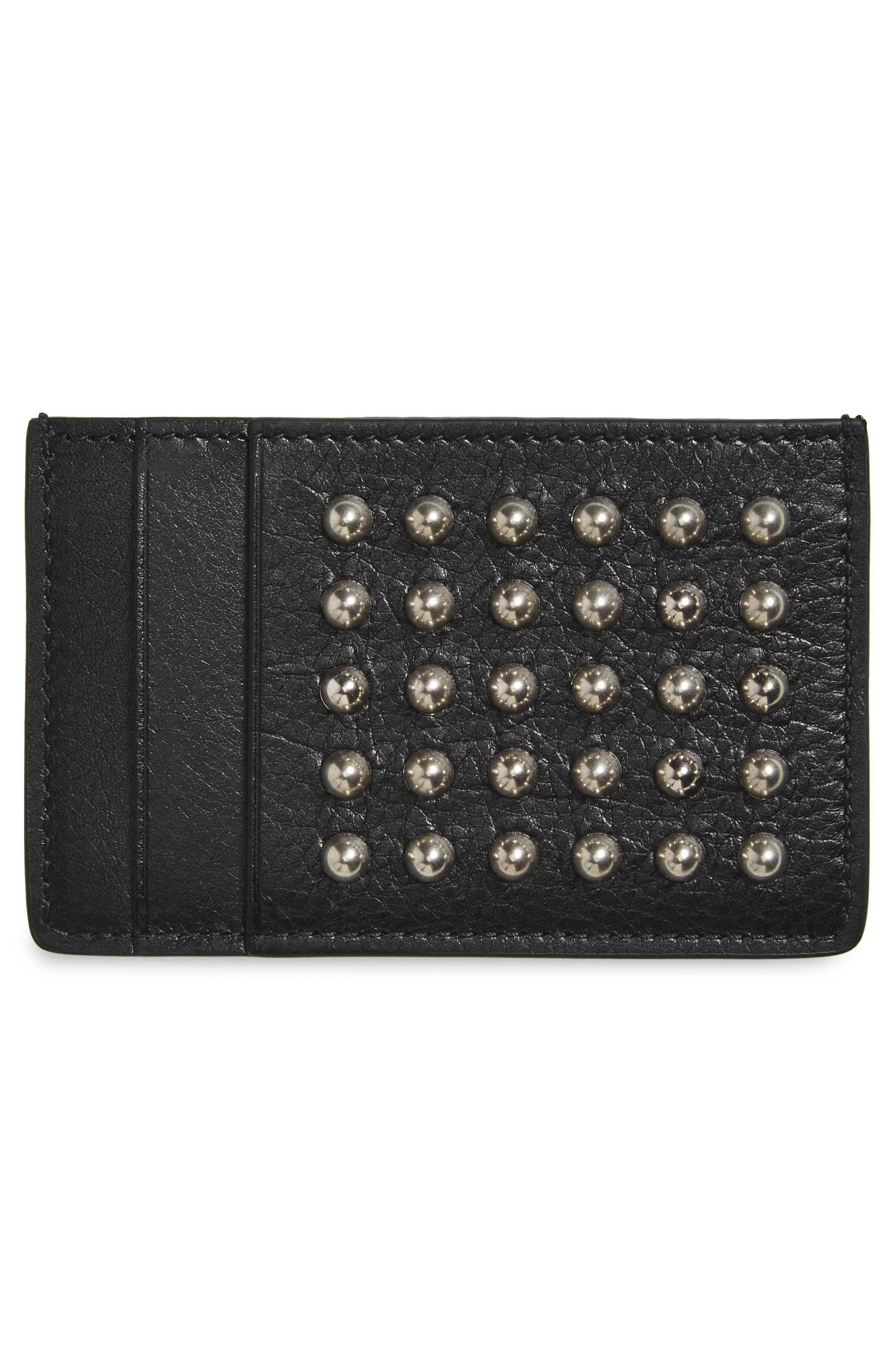 Studded Leather Card Case,                             Alternate thumbnail 2, color,                             Black