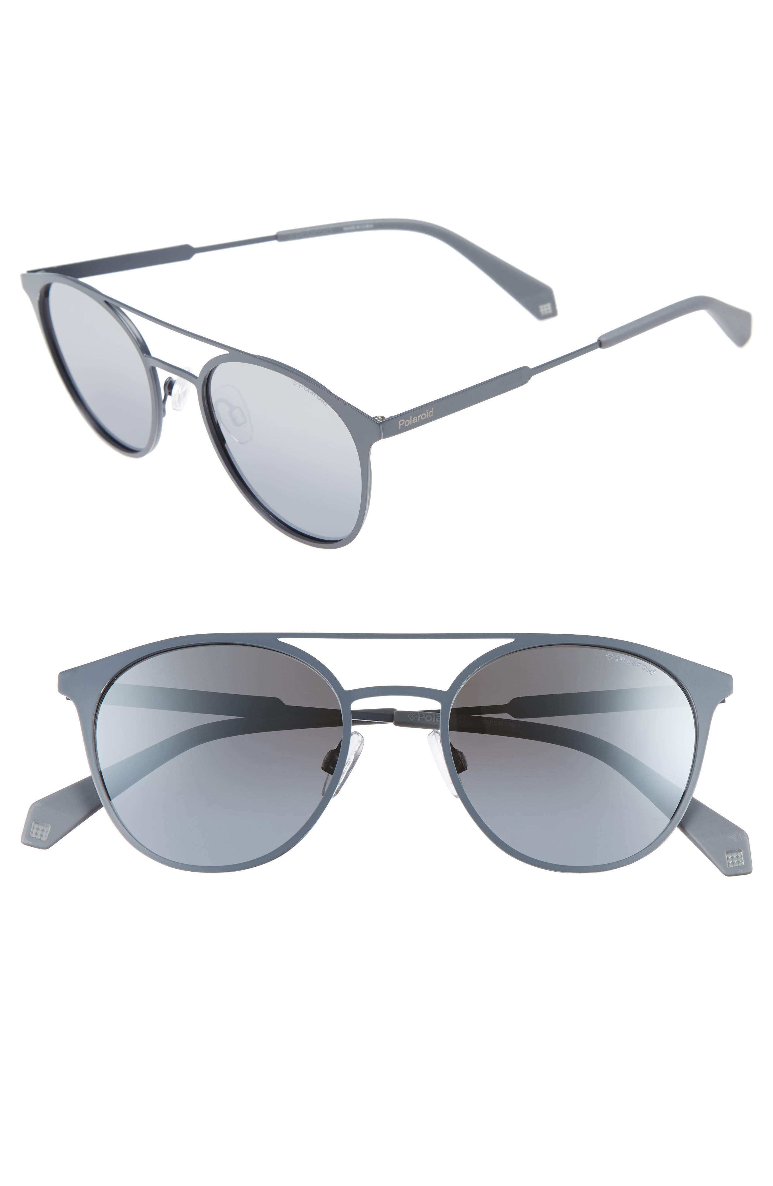 Polaroid 51mm Polarized Round Stainless Steel Sunglasses