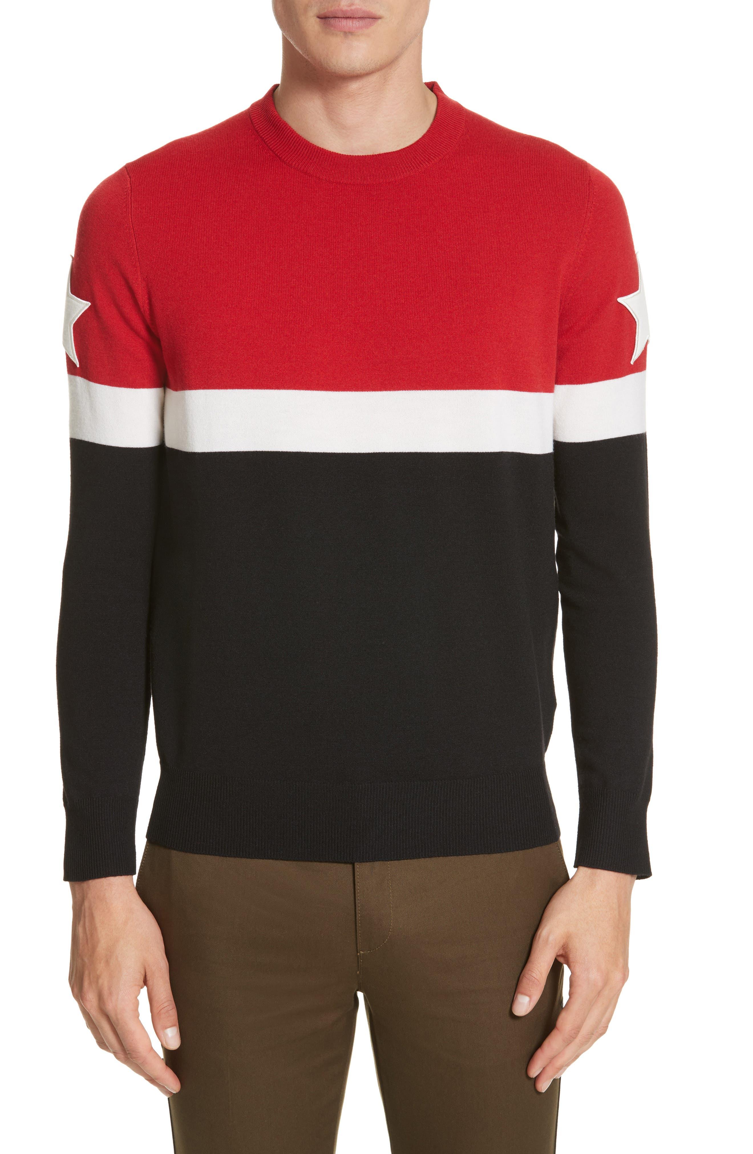 Stripe Wool Blend Pullover,                         Main,                         color, Black