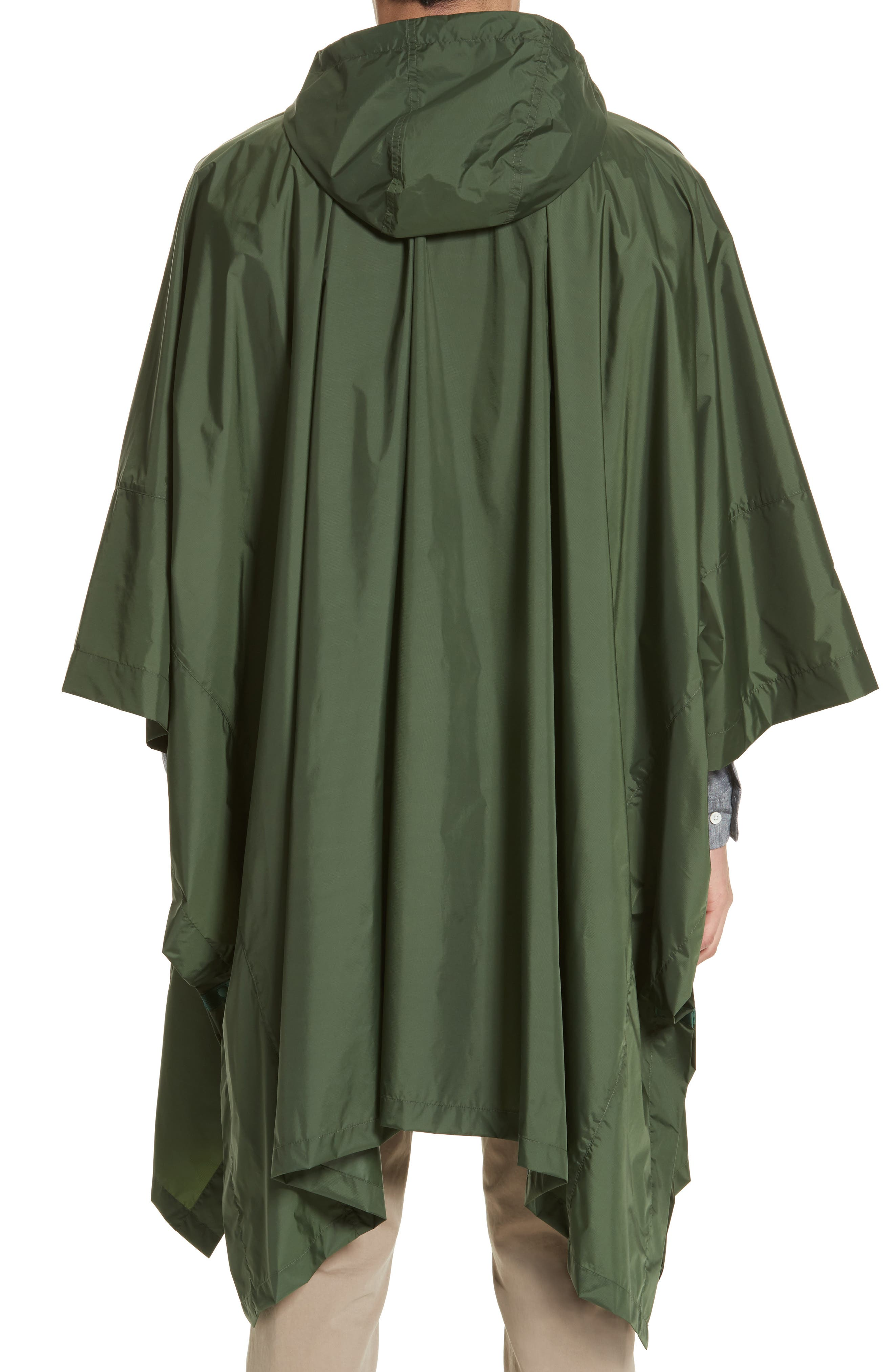 Packable Nylon Poncho,                             Alternate thumbnail 2, color,                             Forest Green