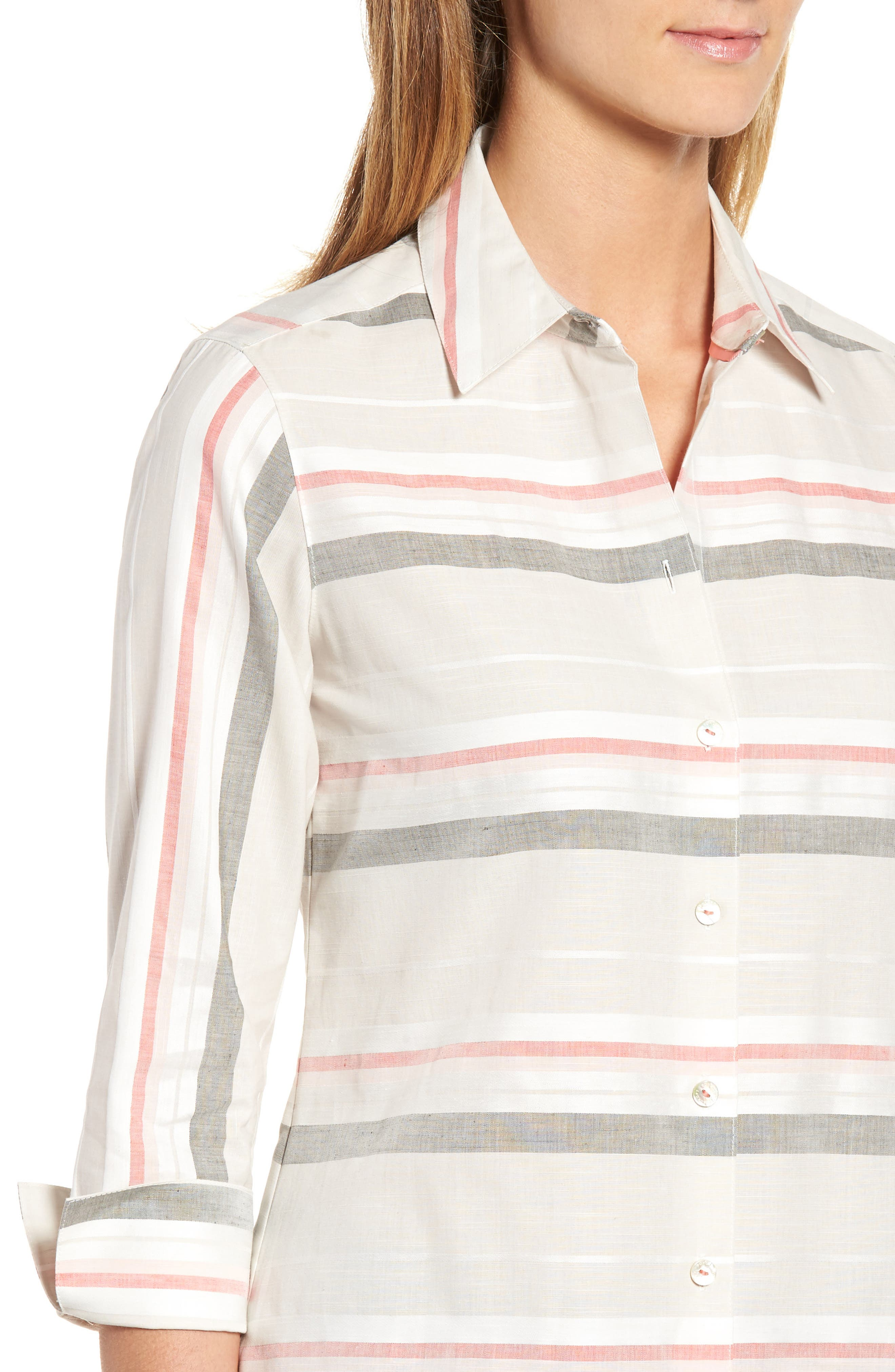 Alternate Image 4  - Foxcroft Fia Stripe Cotton & Linen Shirt (Regular & Petite)
