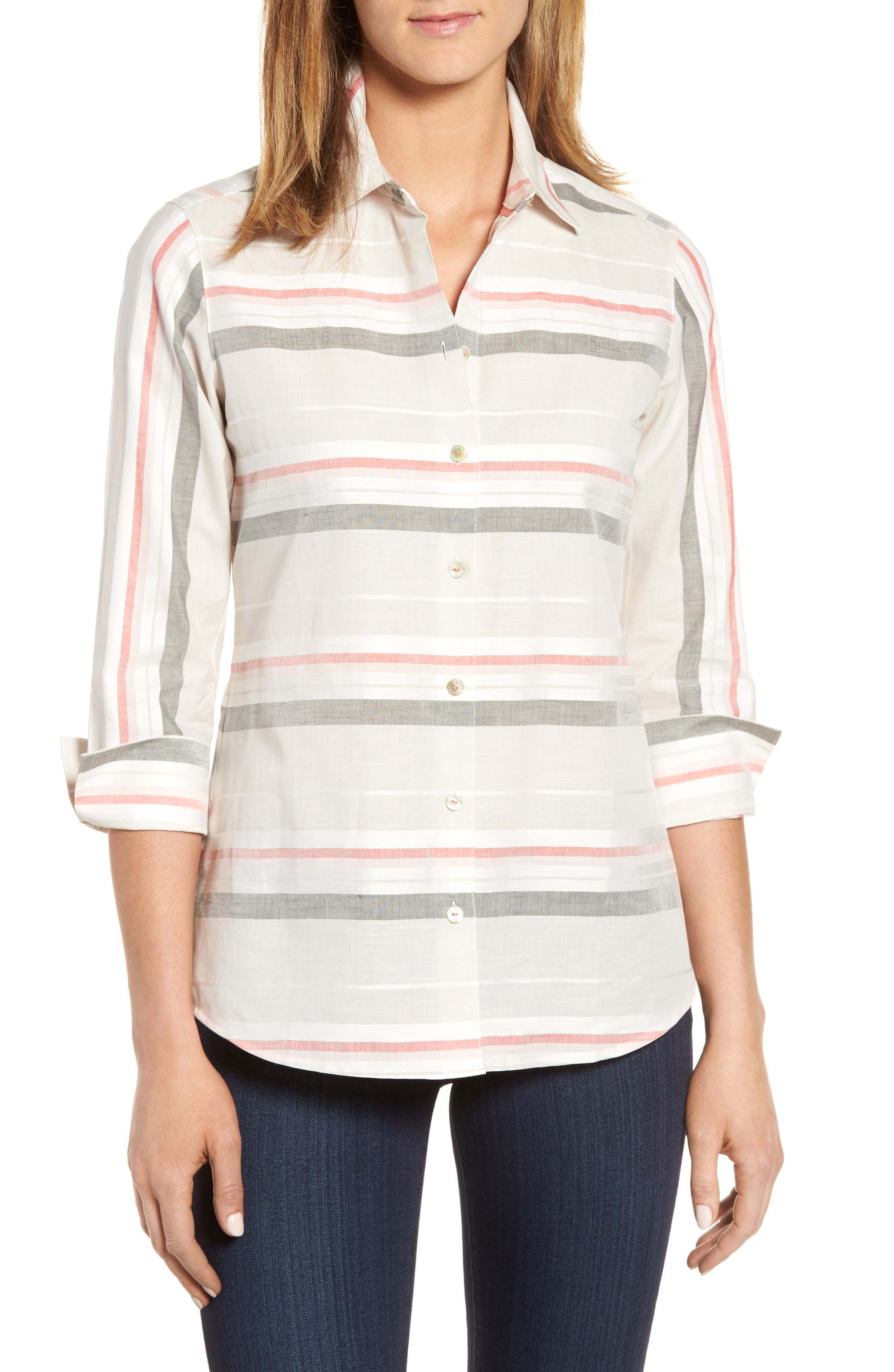 Alternate Image 1 Selected - Foxcroft Fia Stripe Cotton & Linen Shirt (Regular & Petite)