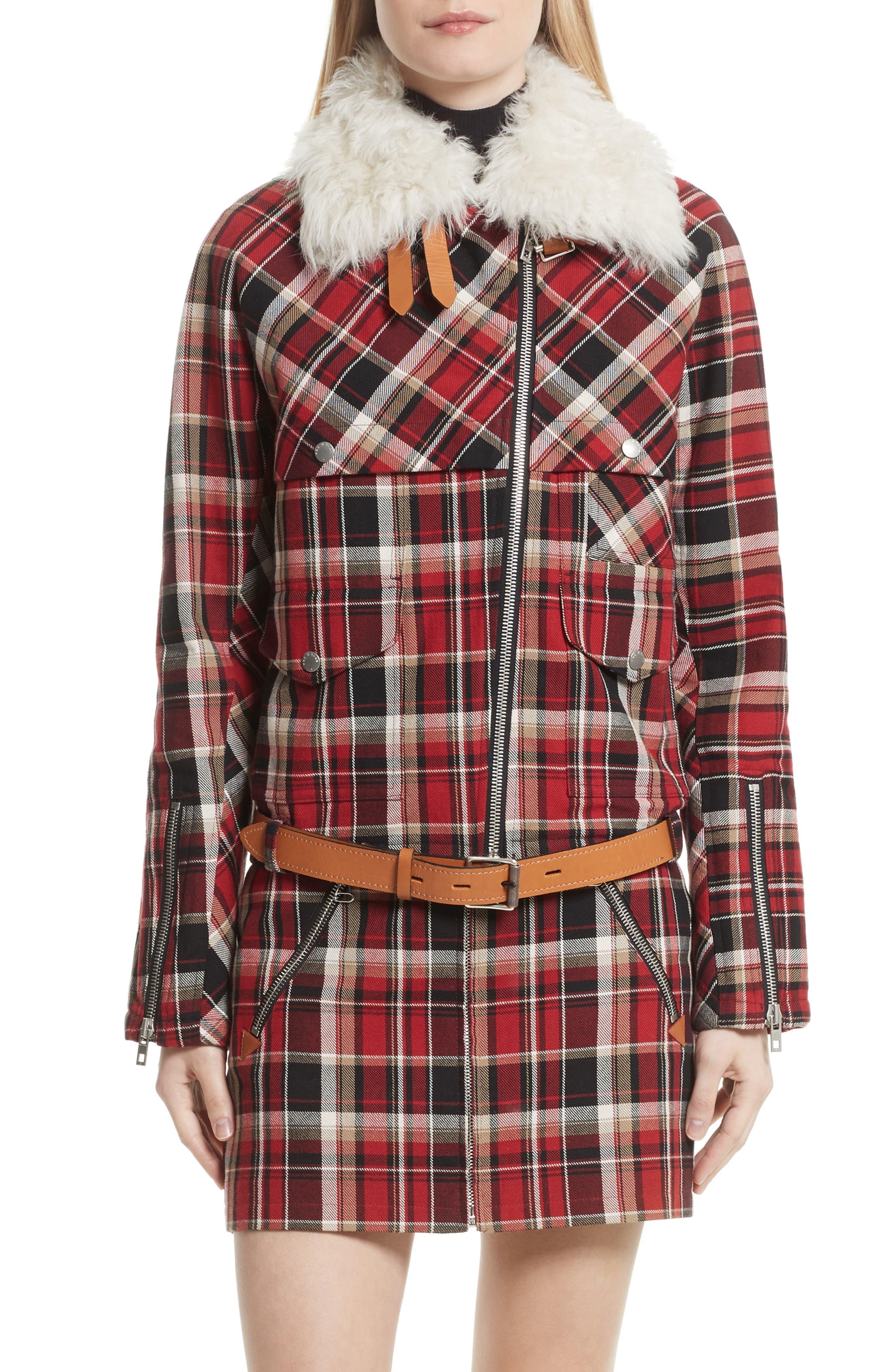 Etiene Plaid Jacket with Genuine Lamb Fur Collar,                         Main,                         color, Red Multi