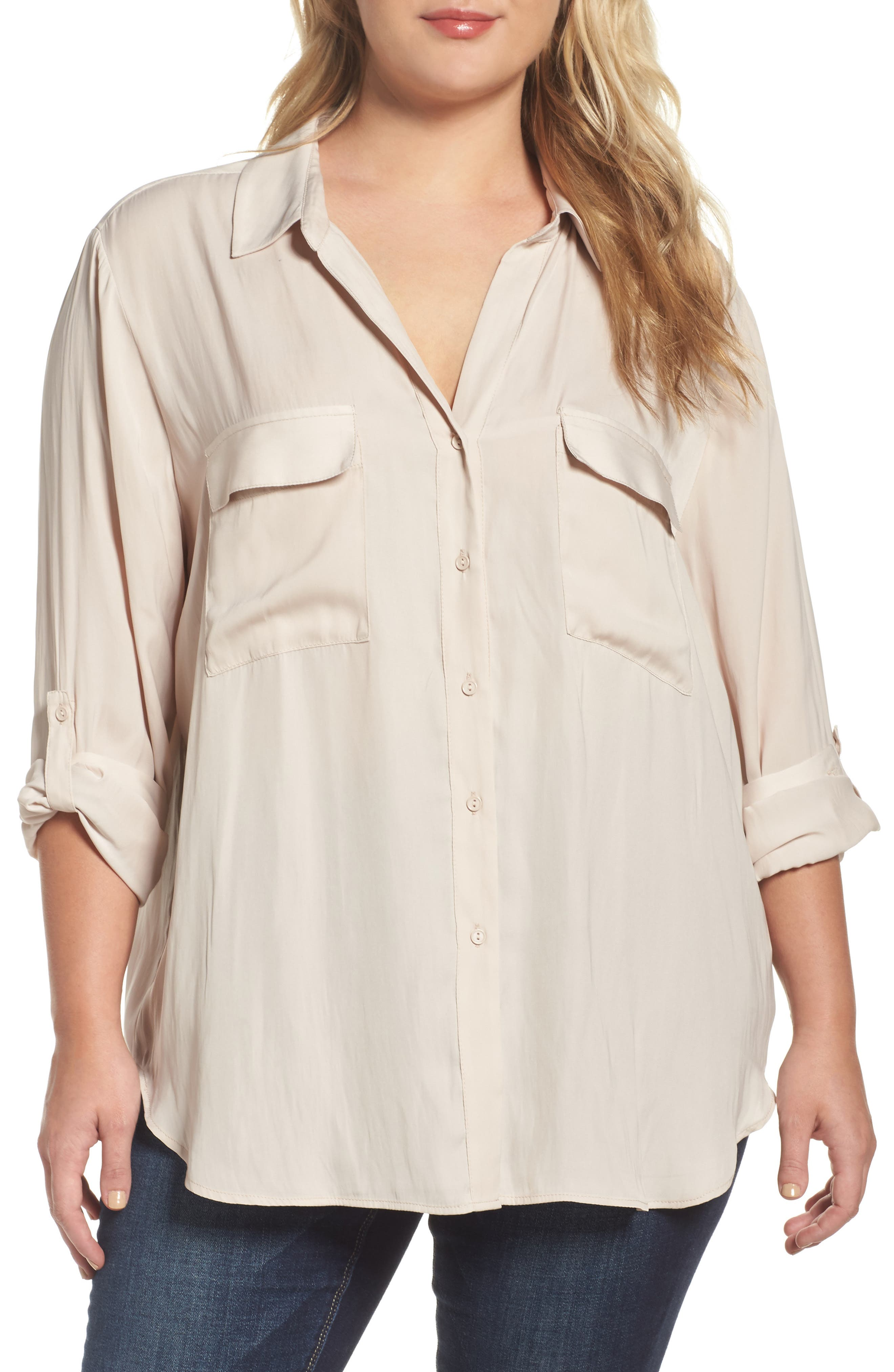 Alternate Image 1 Selected - Tart Carol Roll-Sleeve Blouse (Plus Size)