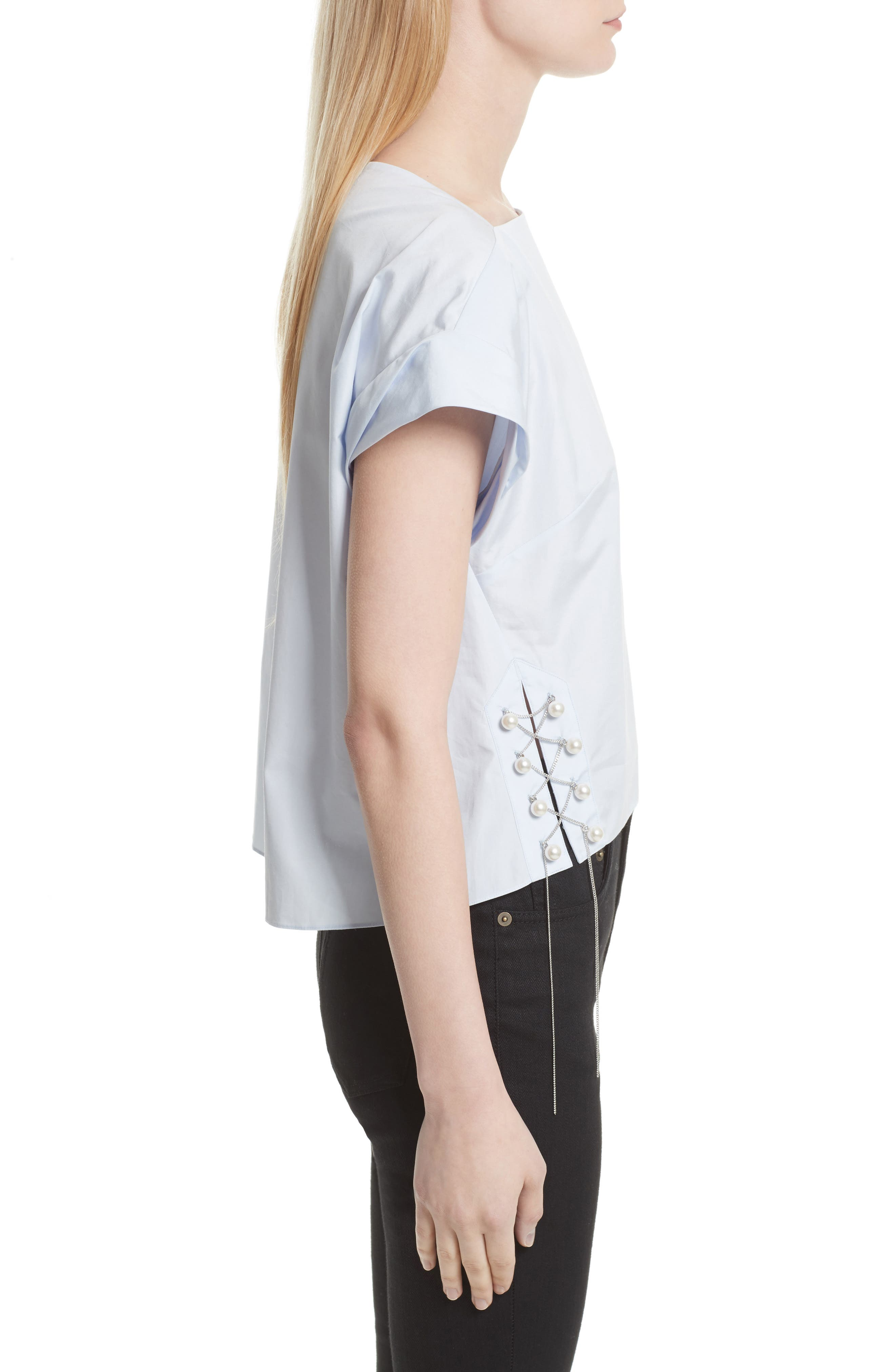 Alternate Image 3  - 3.1 Phillip Lim Faux Pearl & Chain Lacing Cotton Top