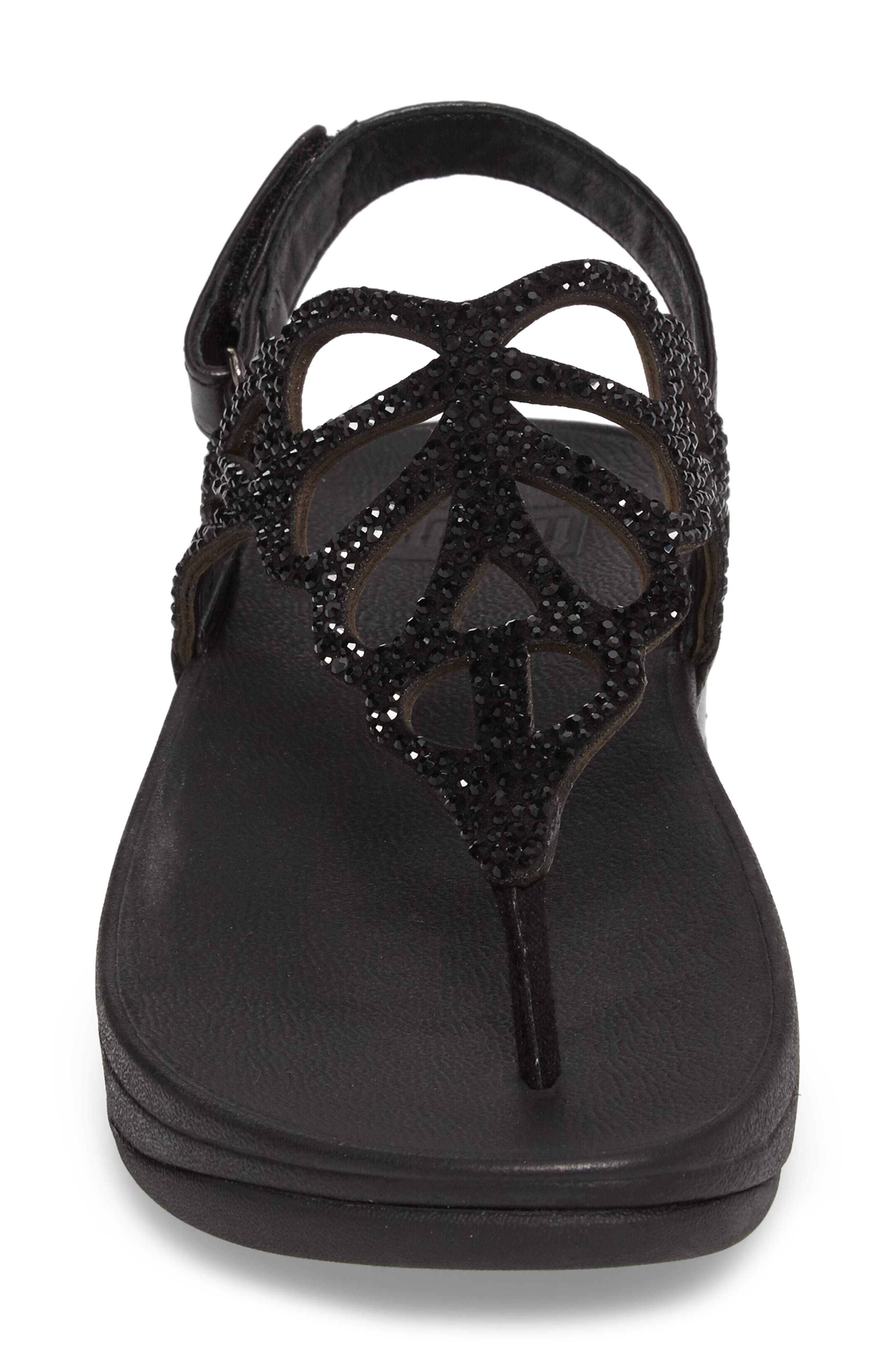 Bumble Crystal Embellished Sandal,                             Alternate thumbnail 4, color,                             Black Leather
