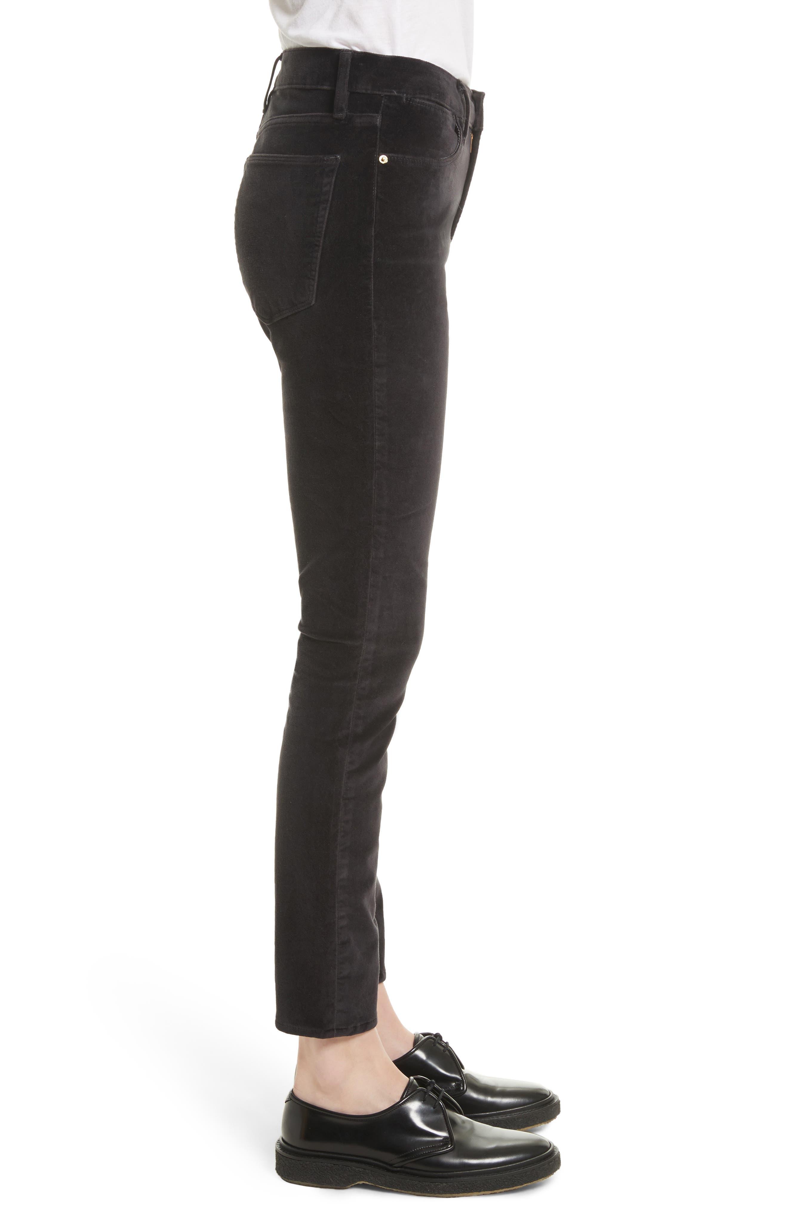 Velveteen High Waist Skinny Pants,                             Alternate thumbnail 4, color,                             Charcoal