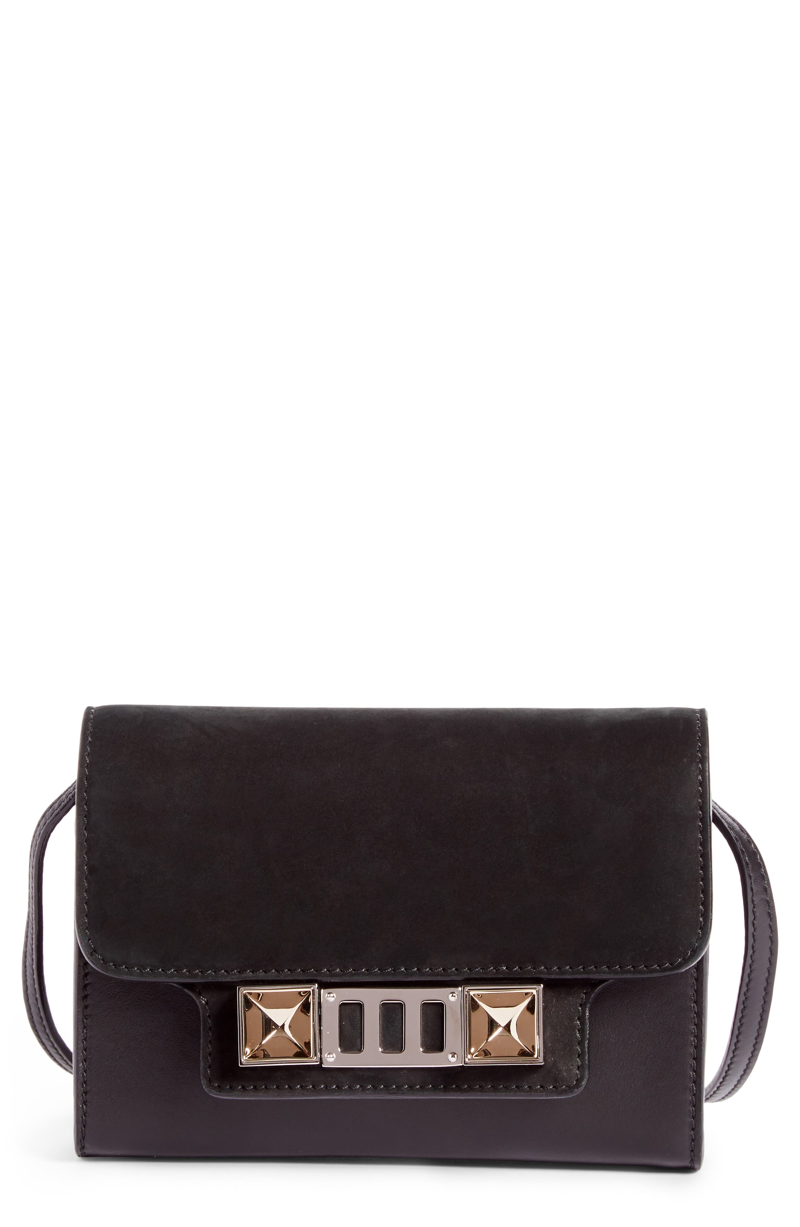 PS11 Calfskin Leather Crossbody Wallet,                         Main,                         color, Black