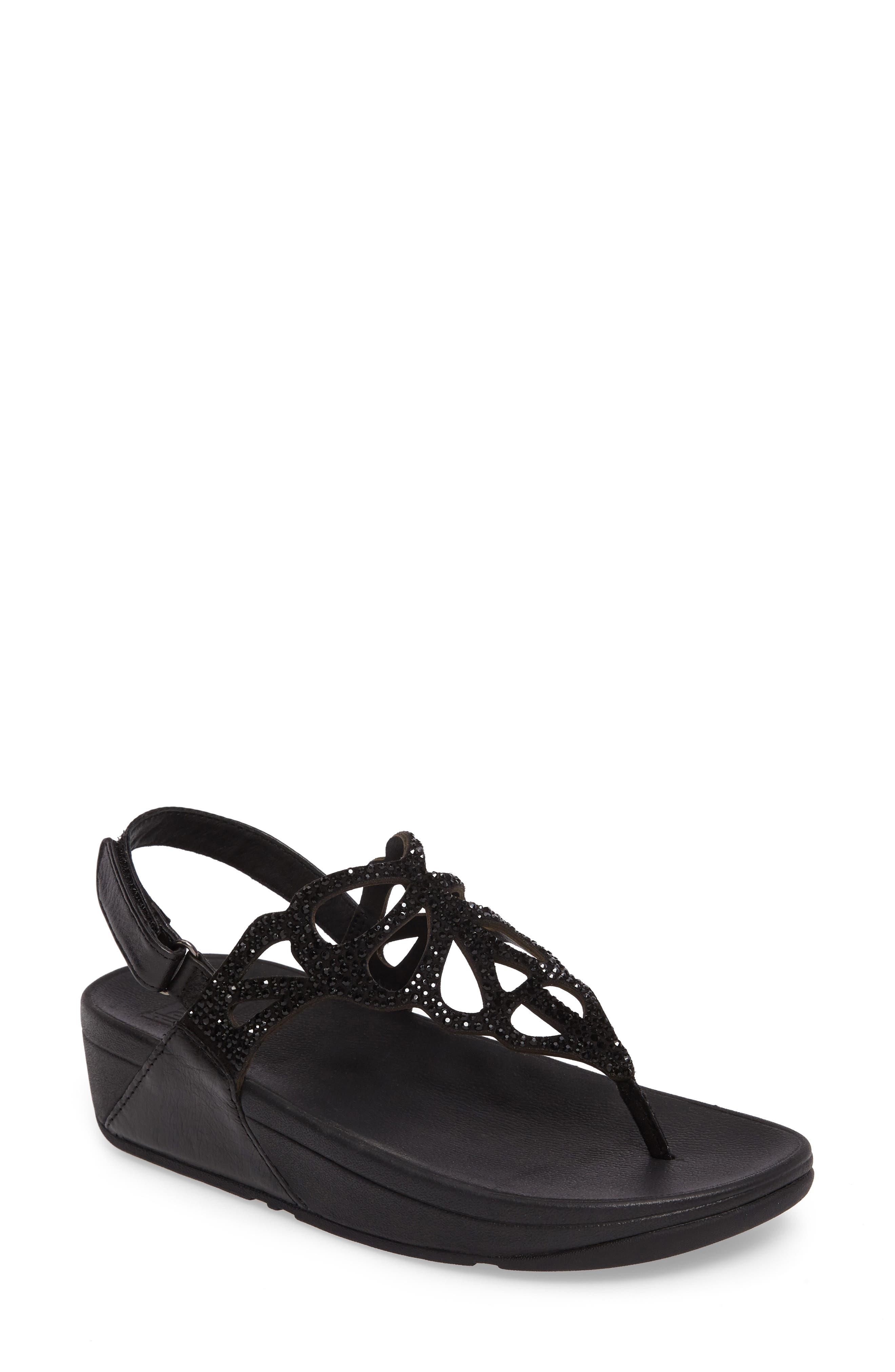 Bumble Crystal Embellished Sandal,                             Main thumbnail 1, color,                             Black Leather