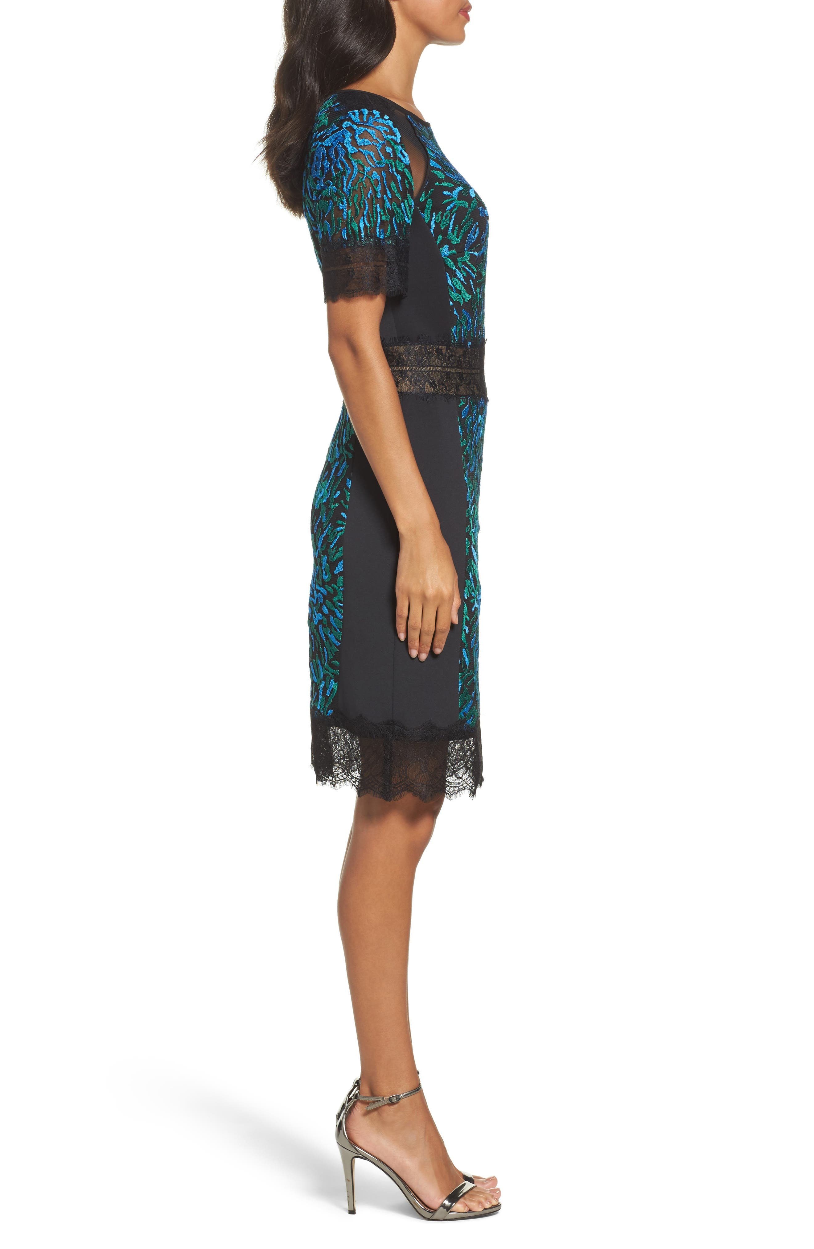 Illusion Lace & Embroidered Mesh Sheath Dress,                             Alternate thumbnail 3, color,                             Deep Ocean/ Black