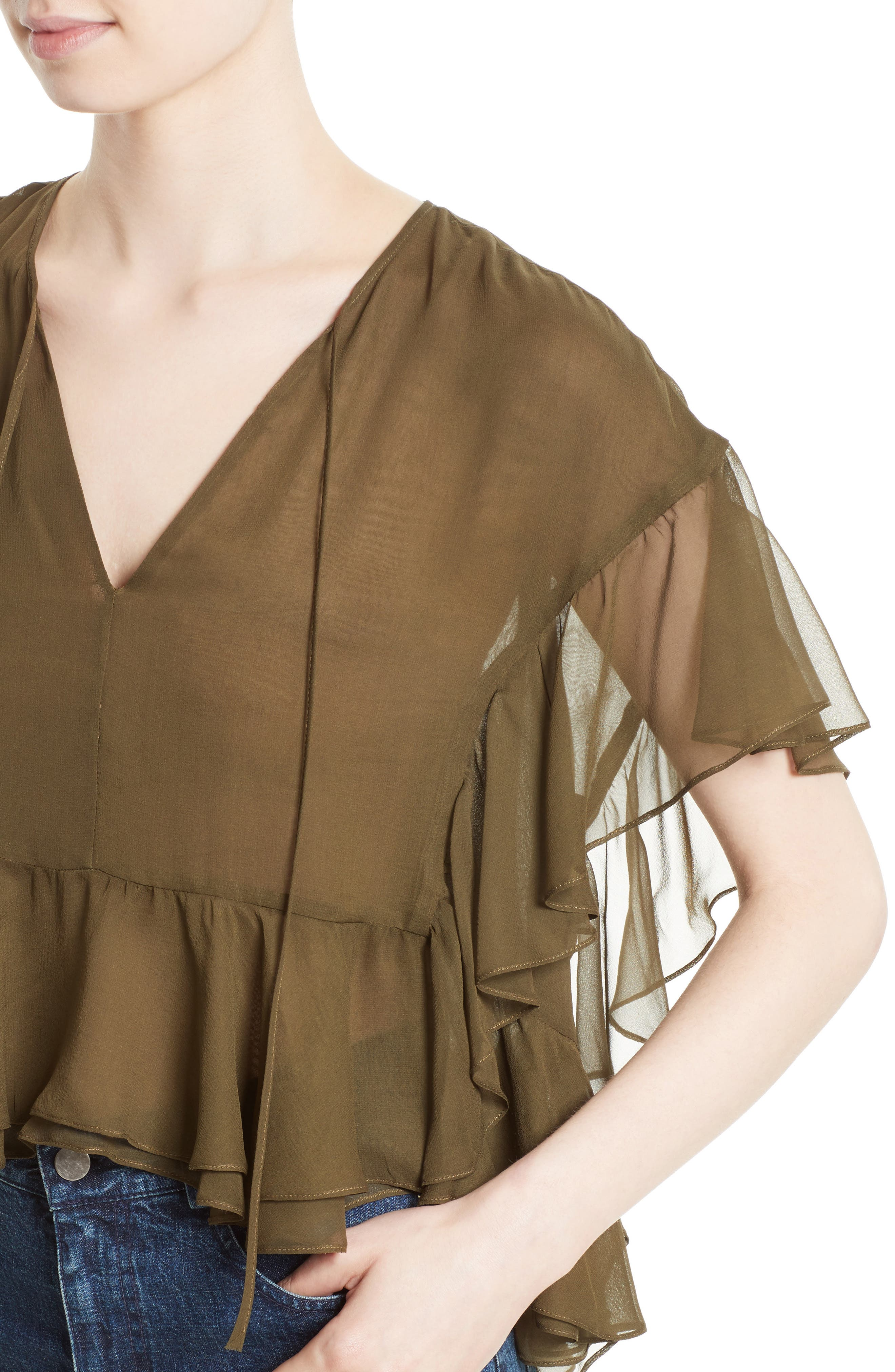 Floater Ruffle Silk Top,                             Alternate thumbnail 4, color,                             Olive