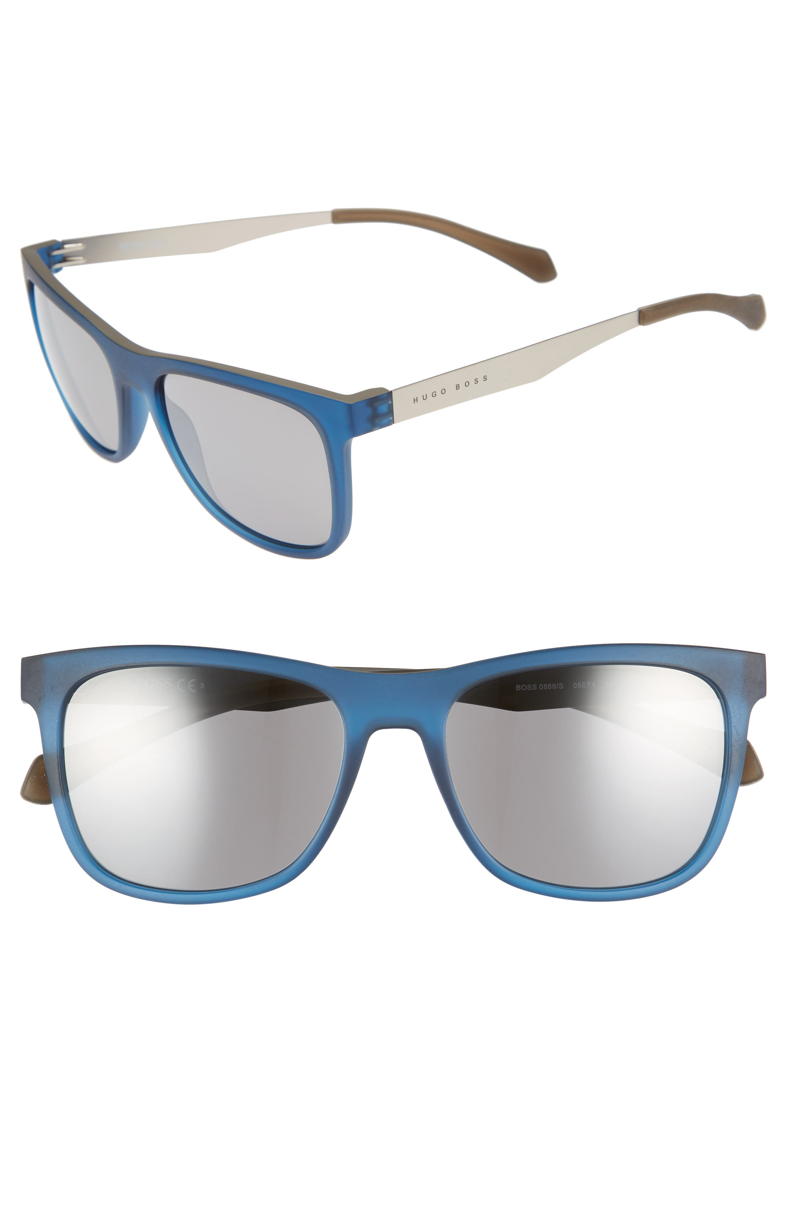 55mm Sunglasses,                         Main,                         color, Matte Blue Beige/ Black