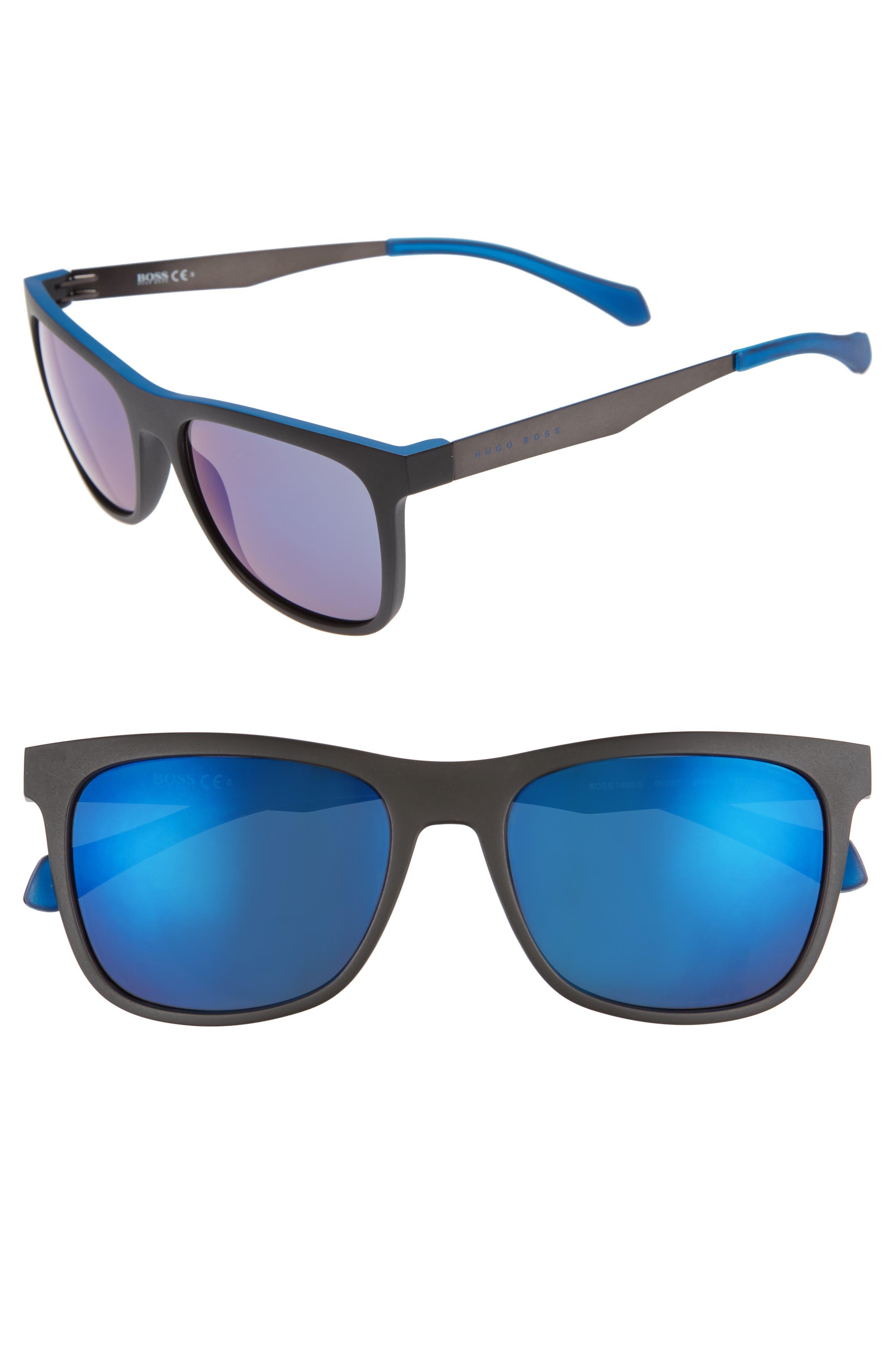 55mm Sunglasses,                         Main,                         color, Matte Black Blue/ Blue Sky
