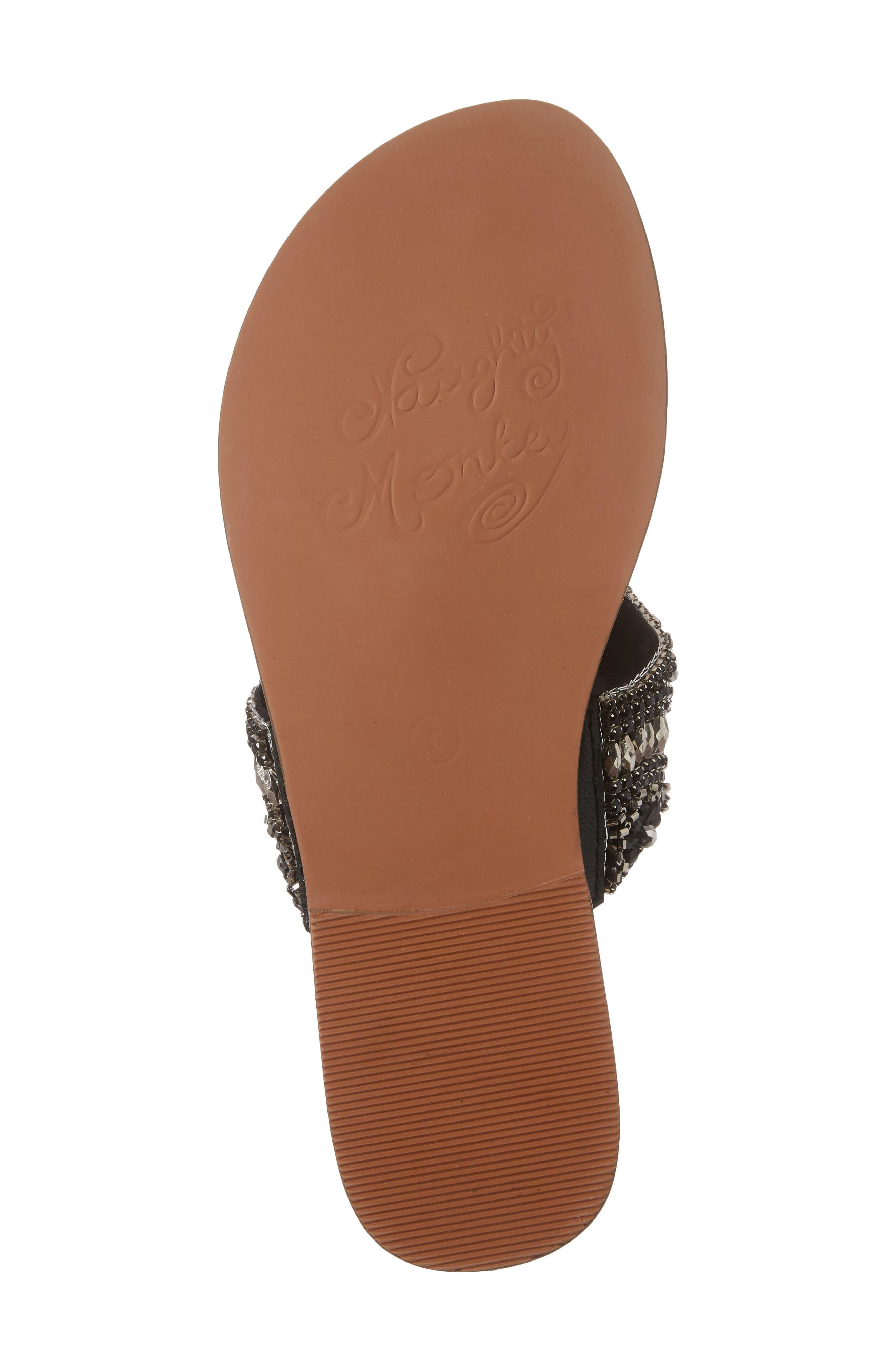 Lizabeth Embellished Sandal,                             Alternate thumbnail 6, color,                             Black Leather