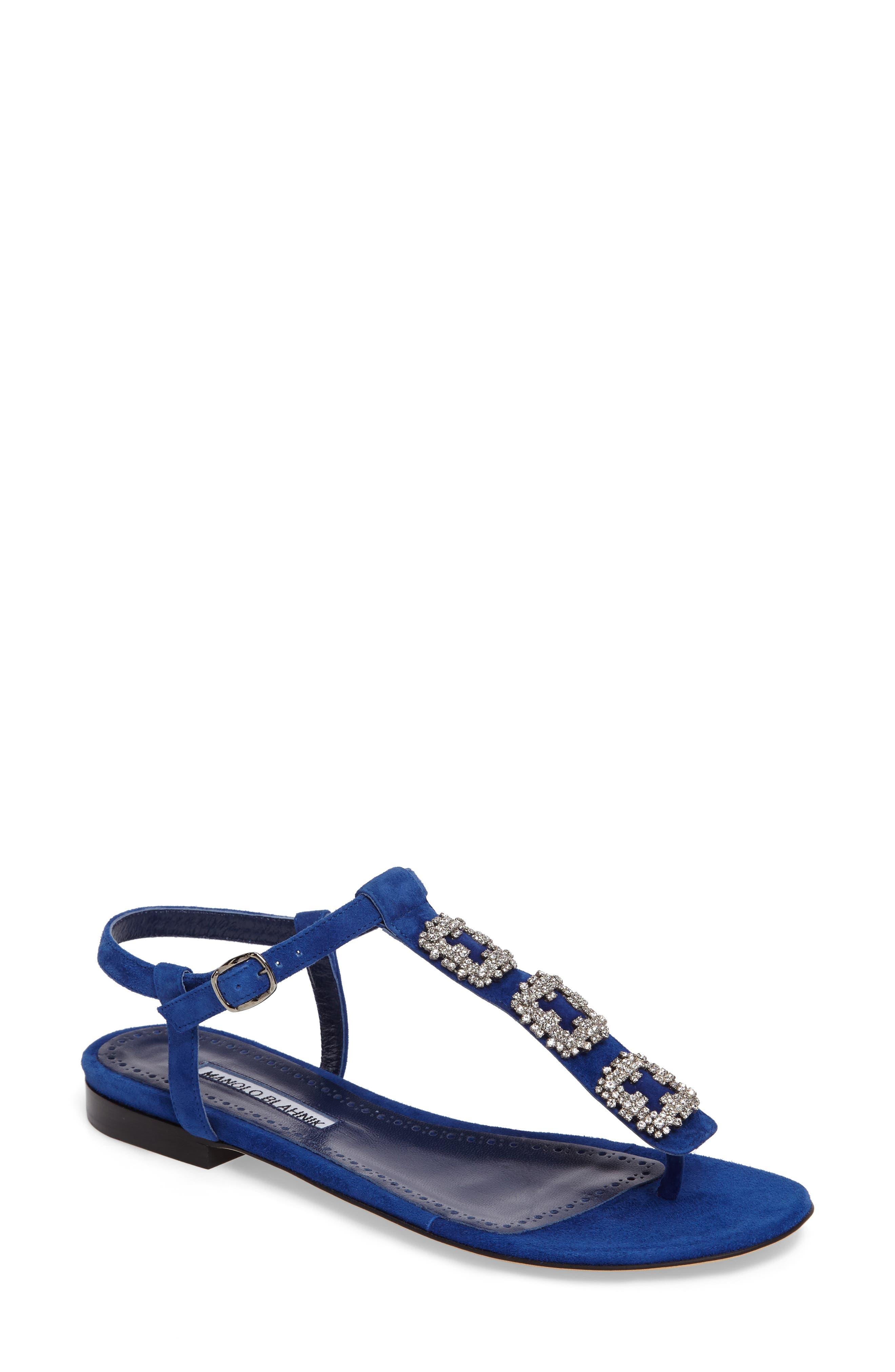 Ottolina T-Strap Sandal,                             Main thumbnail 1, color,                             Blue Suede