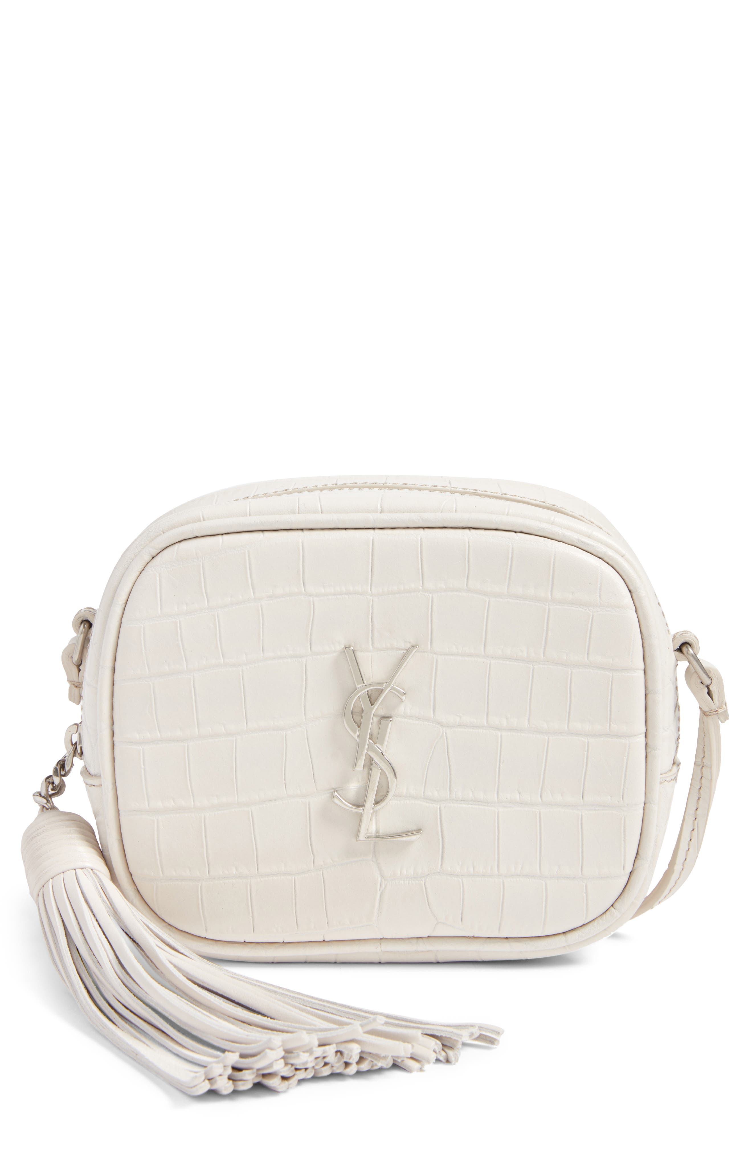 Monogram Blogger Leather Crossbody Bag,                         Main,                         color, Icy White