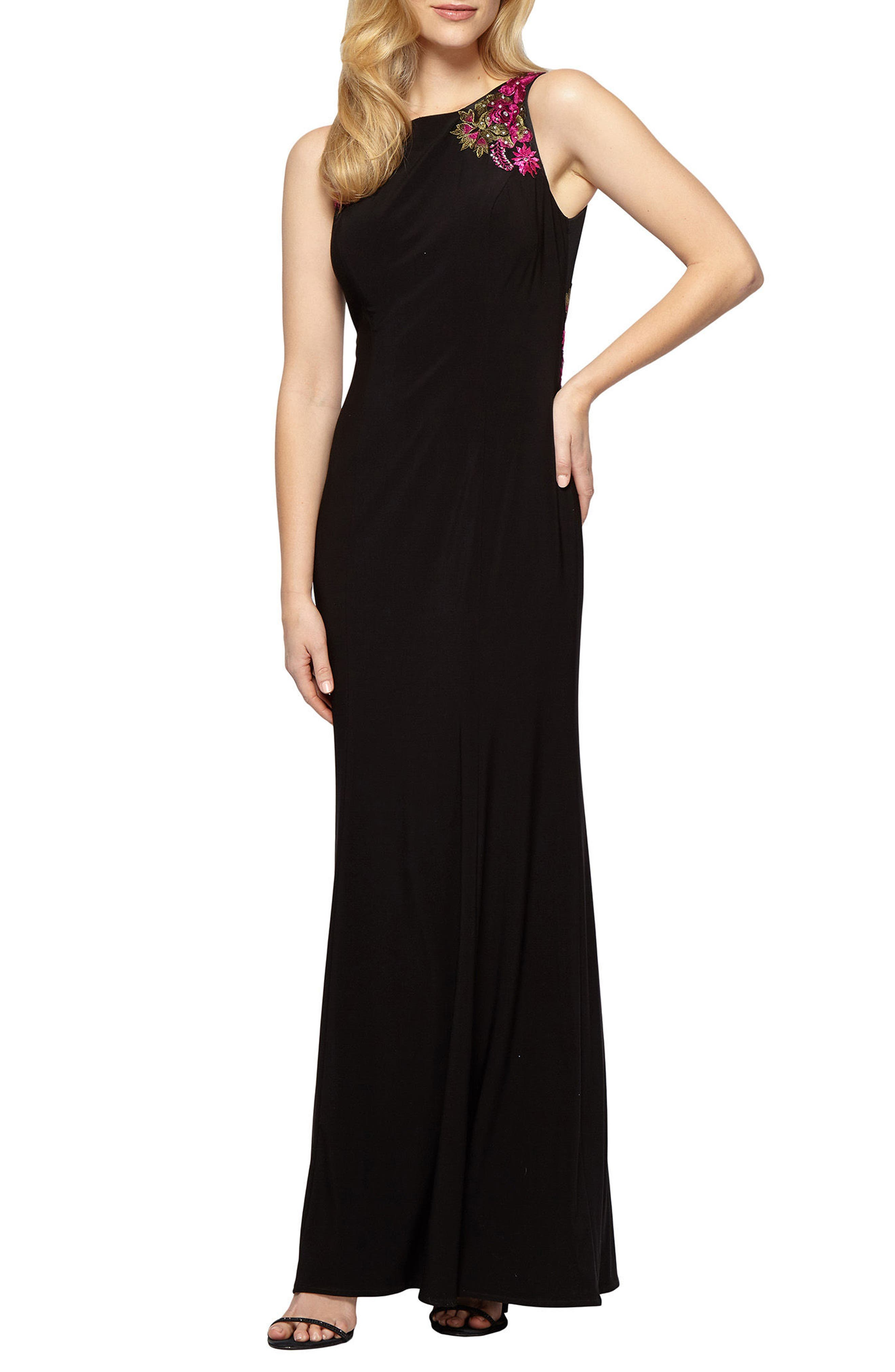 Embellished Sleeveless Gown,                         Main,                         color, Black Multi