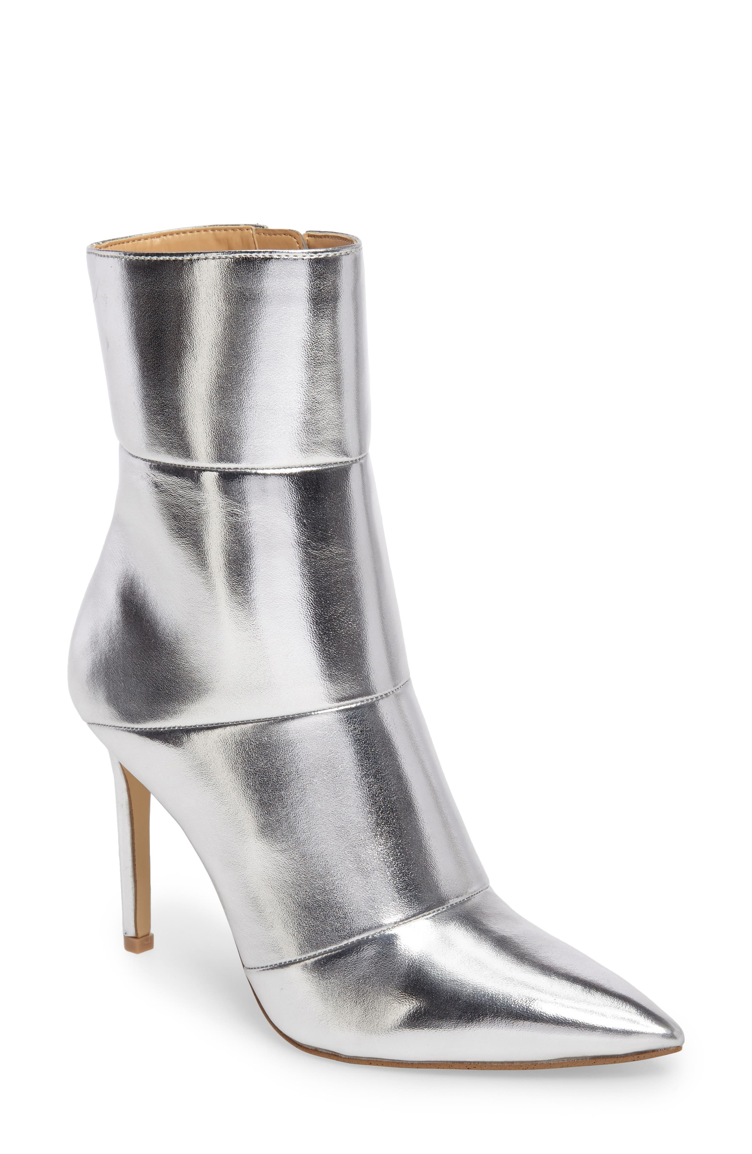 by Zendaya Nicolette Pointy Toe Bootie,                             Main thumbnail 1, color,                             Silver
