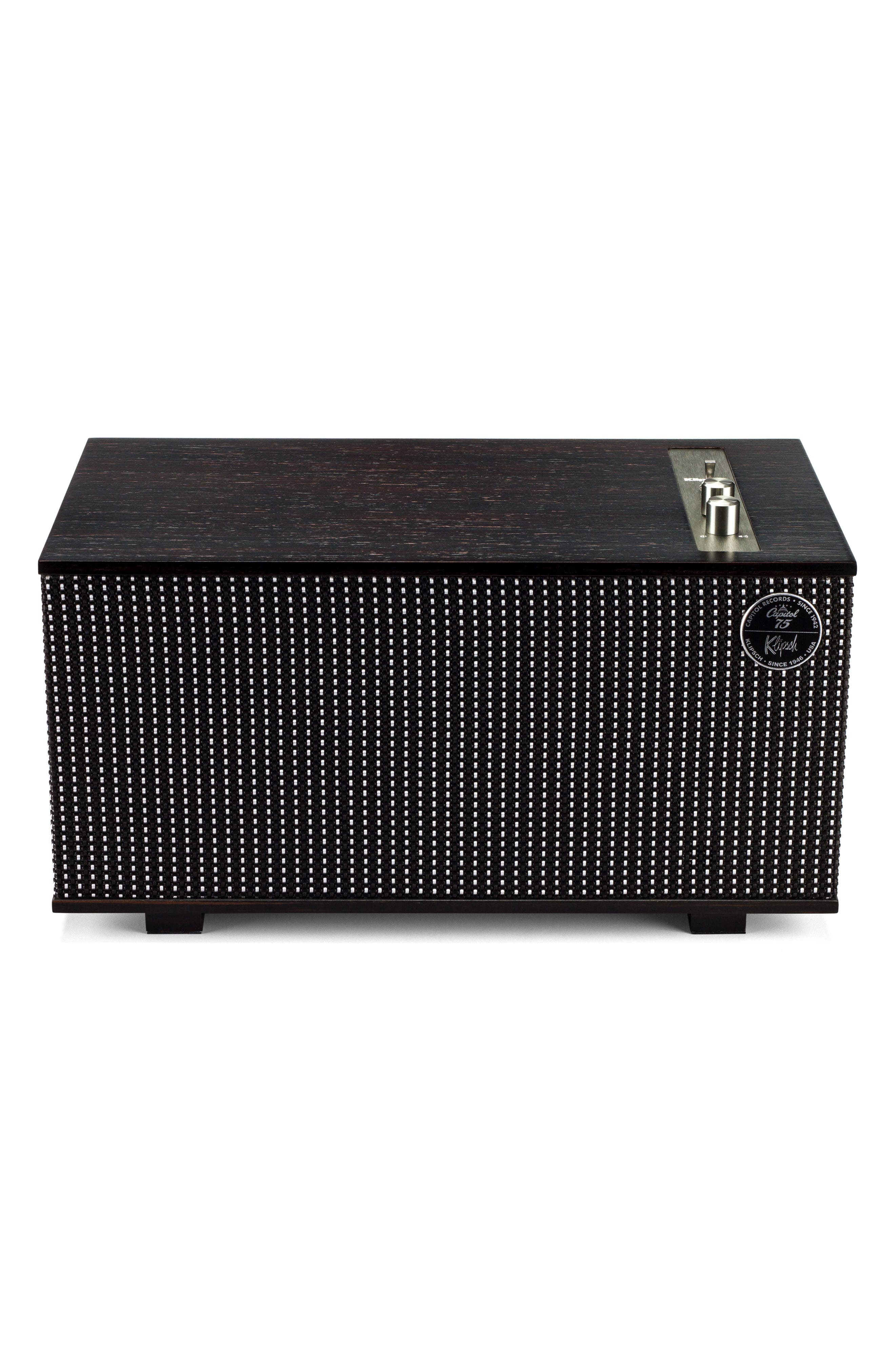 Klipsch The Capitol Three Bluetooth<sup>®</sup> Speaker,                             Main thumbnail 1, color,                             Ebony/ Silver