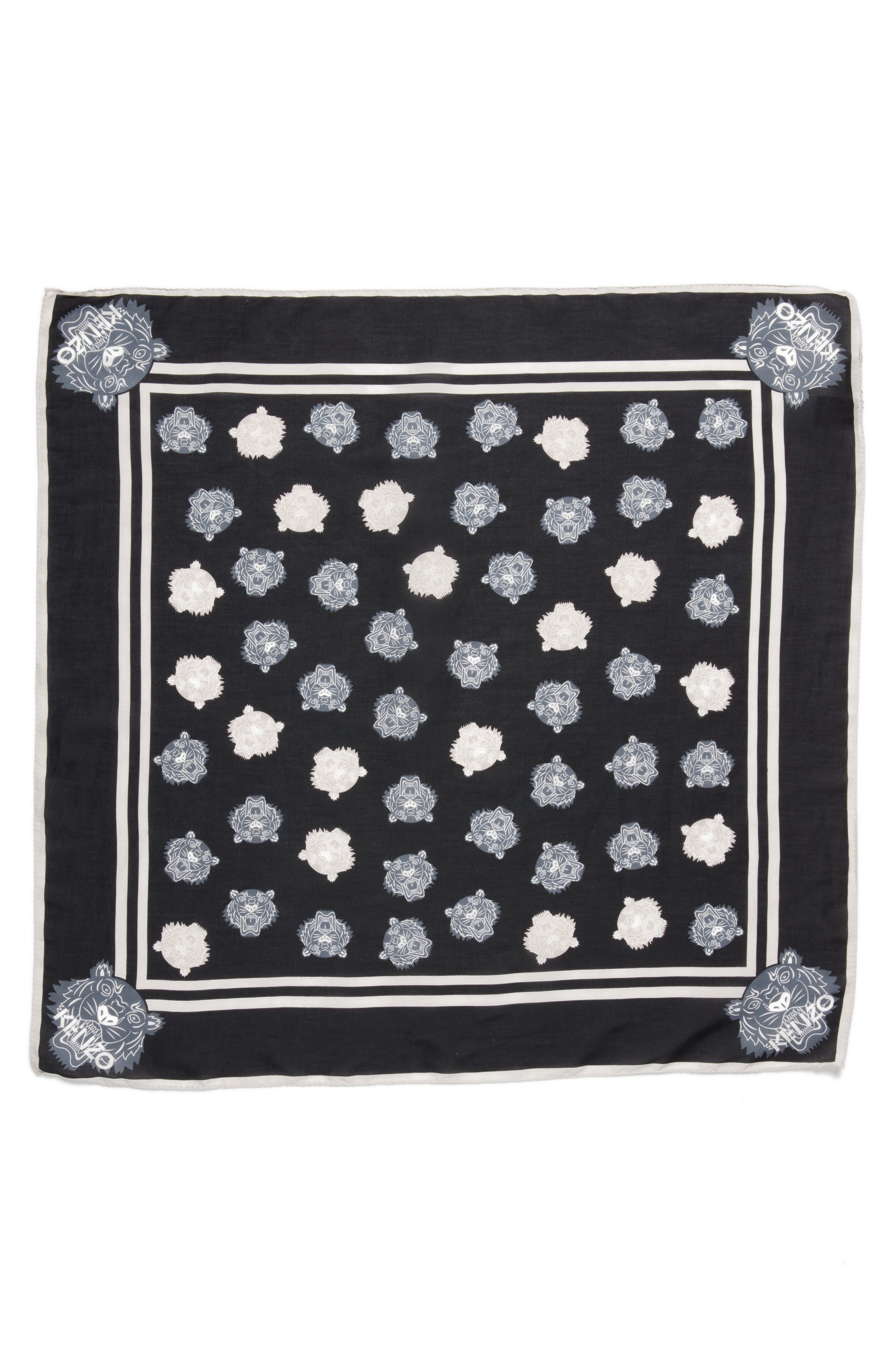 KENZO 'Tiger Bandana' Cotton & Silk Scarf