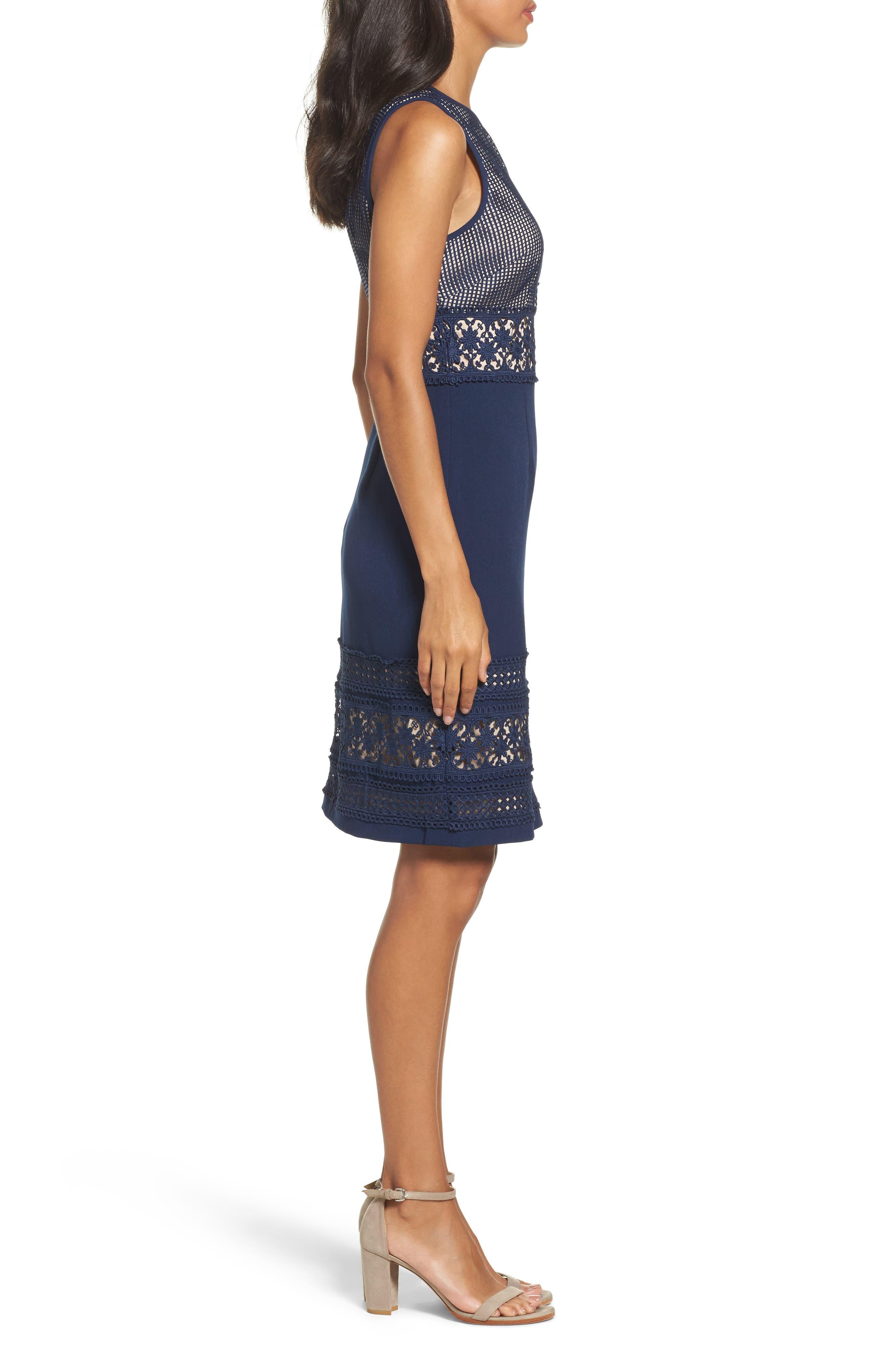 Lace & Crepe Sheath Dress,                             Alternate thumbnail 3, color,                             Dusk
