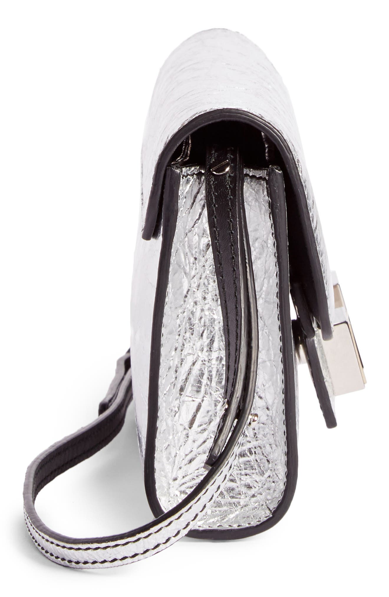PS11 Leather Crossbody Wallet,                             Alternate thumbnail 4, color,                             Silver