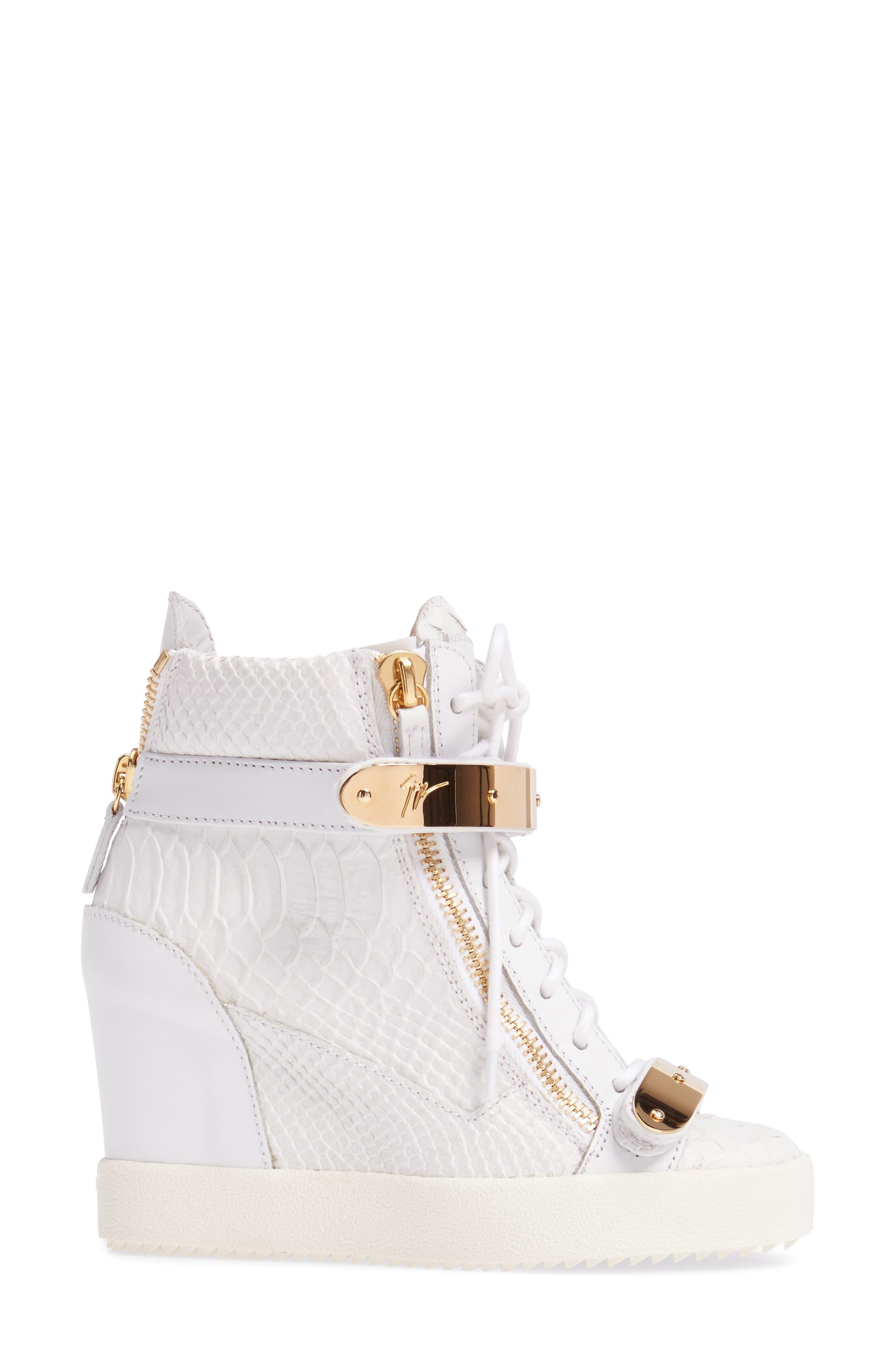 Wedge Sneaker,                             Alternate thumbnail 3, color,                             White