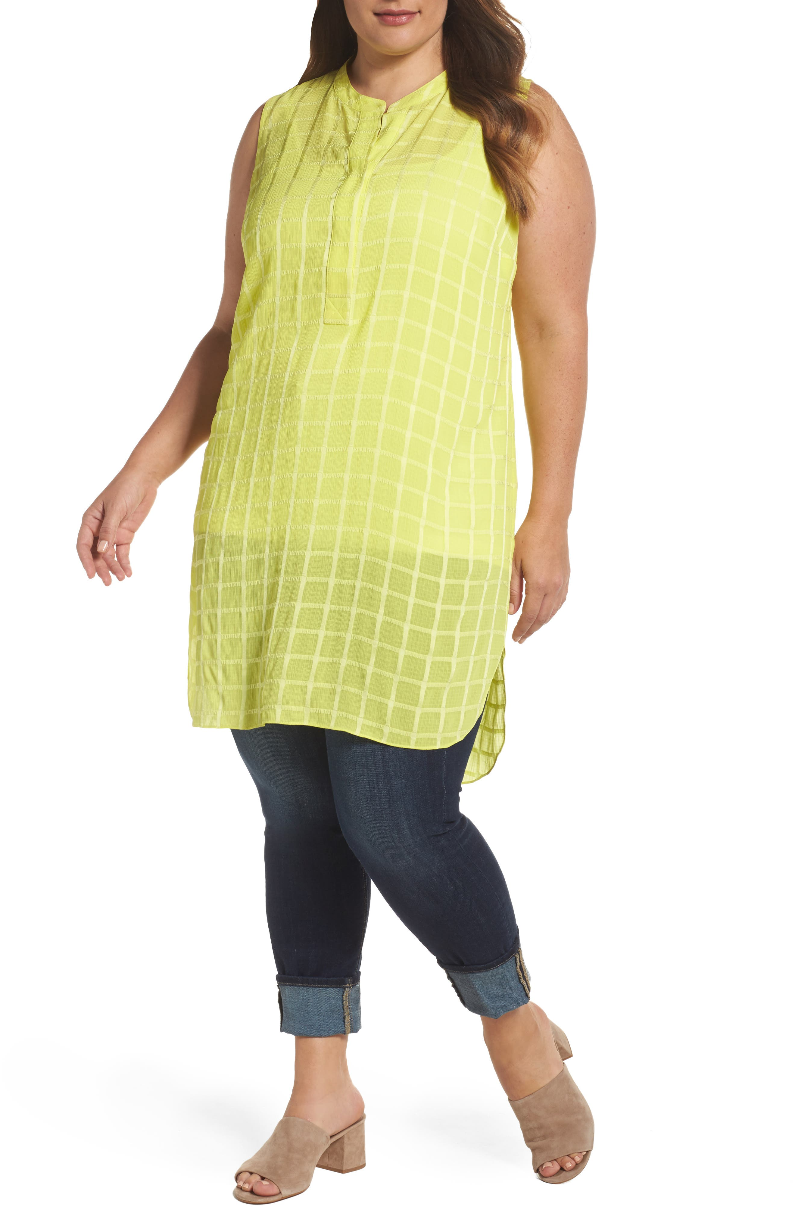 Vince Camuto Sheer Plaid Henley Tunic (Plus Size)