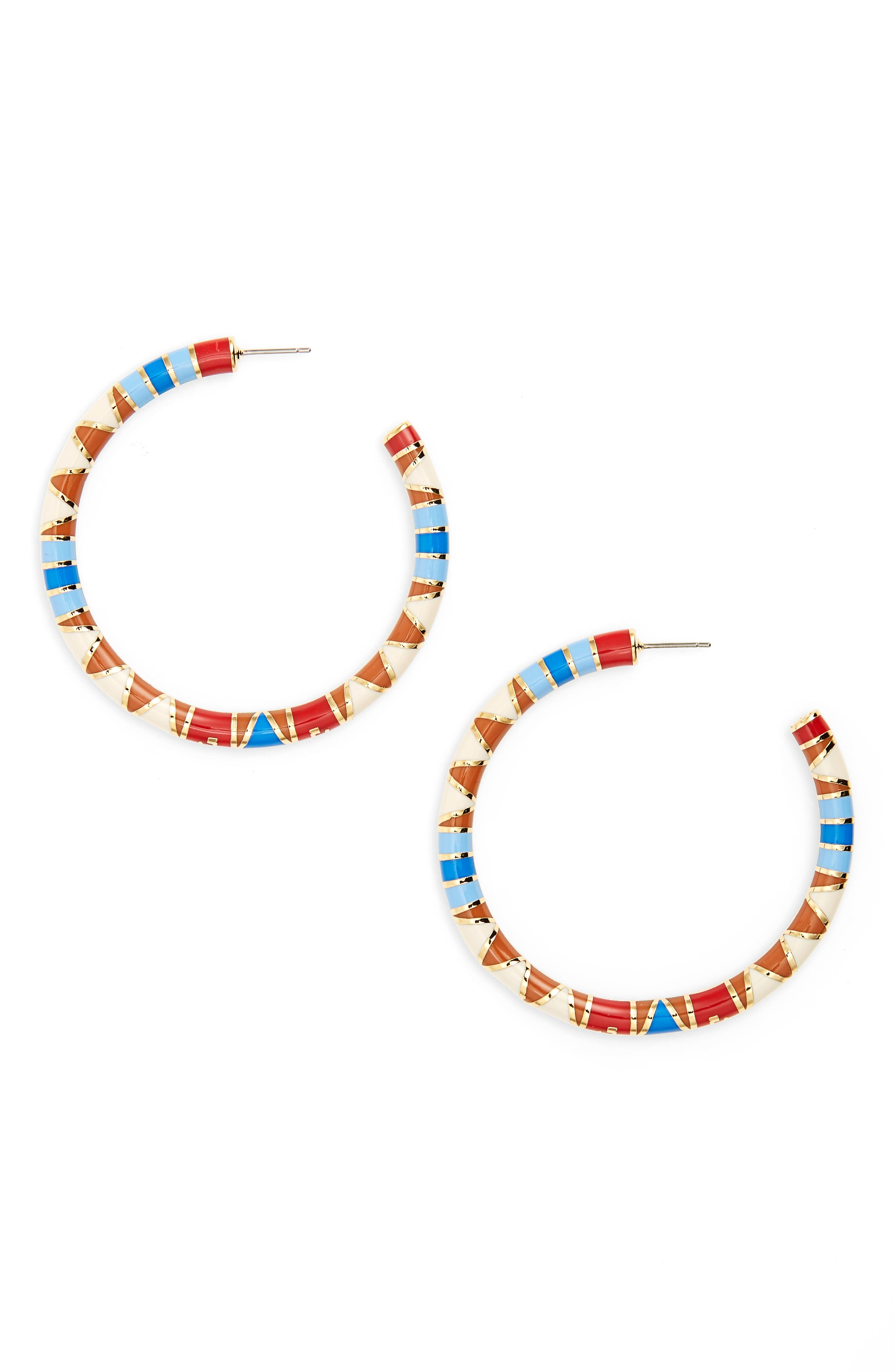 Hoop Earrings,                             Main thumbnail 1, color,                             Red Volcano / Tory Gold