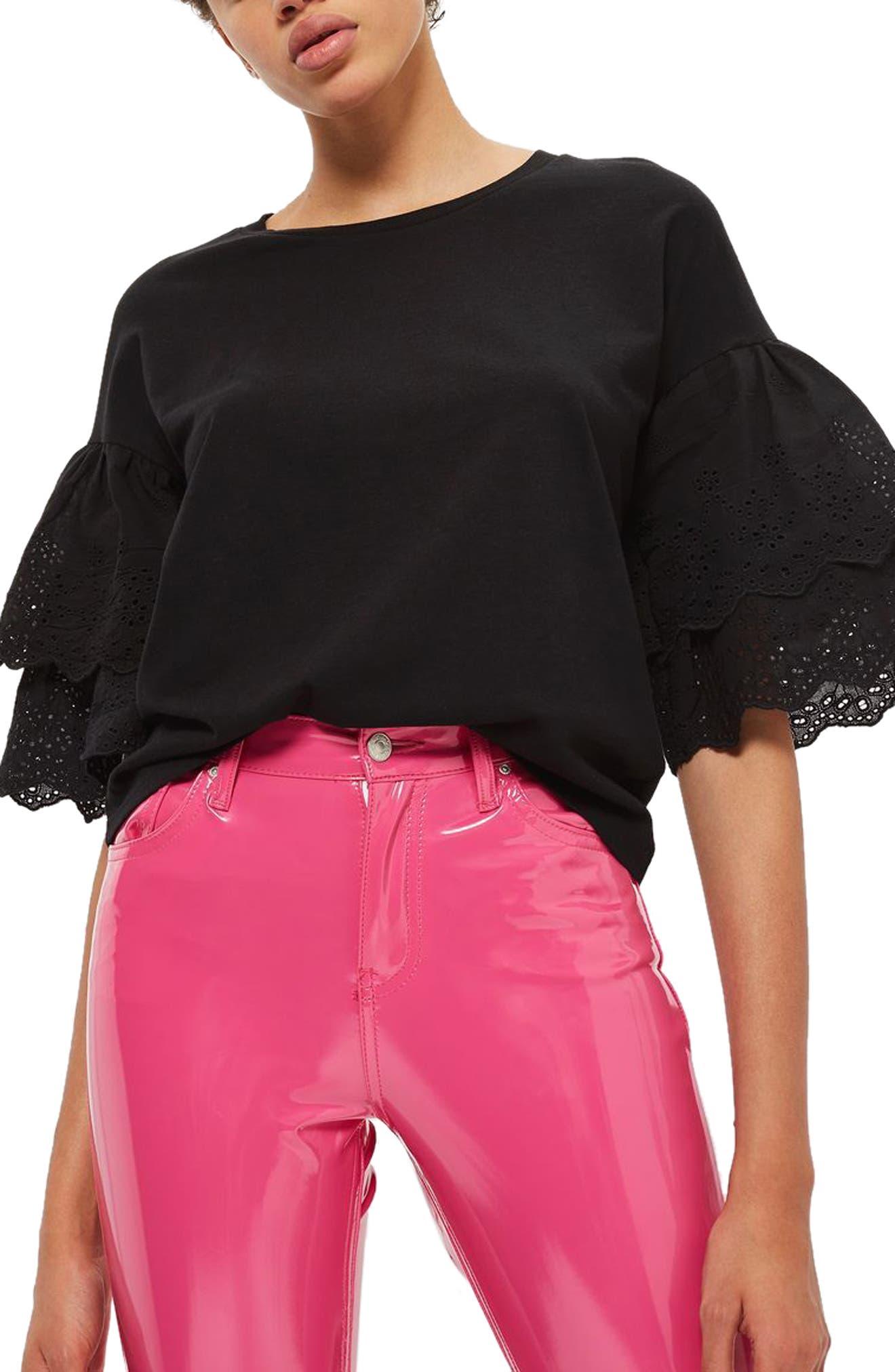 Eyelet Layer Sleeve Tee T-Shirt,                         Main,                         color, Black