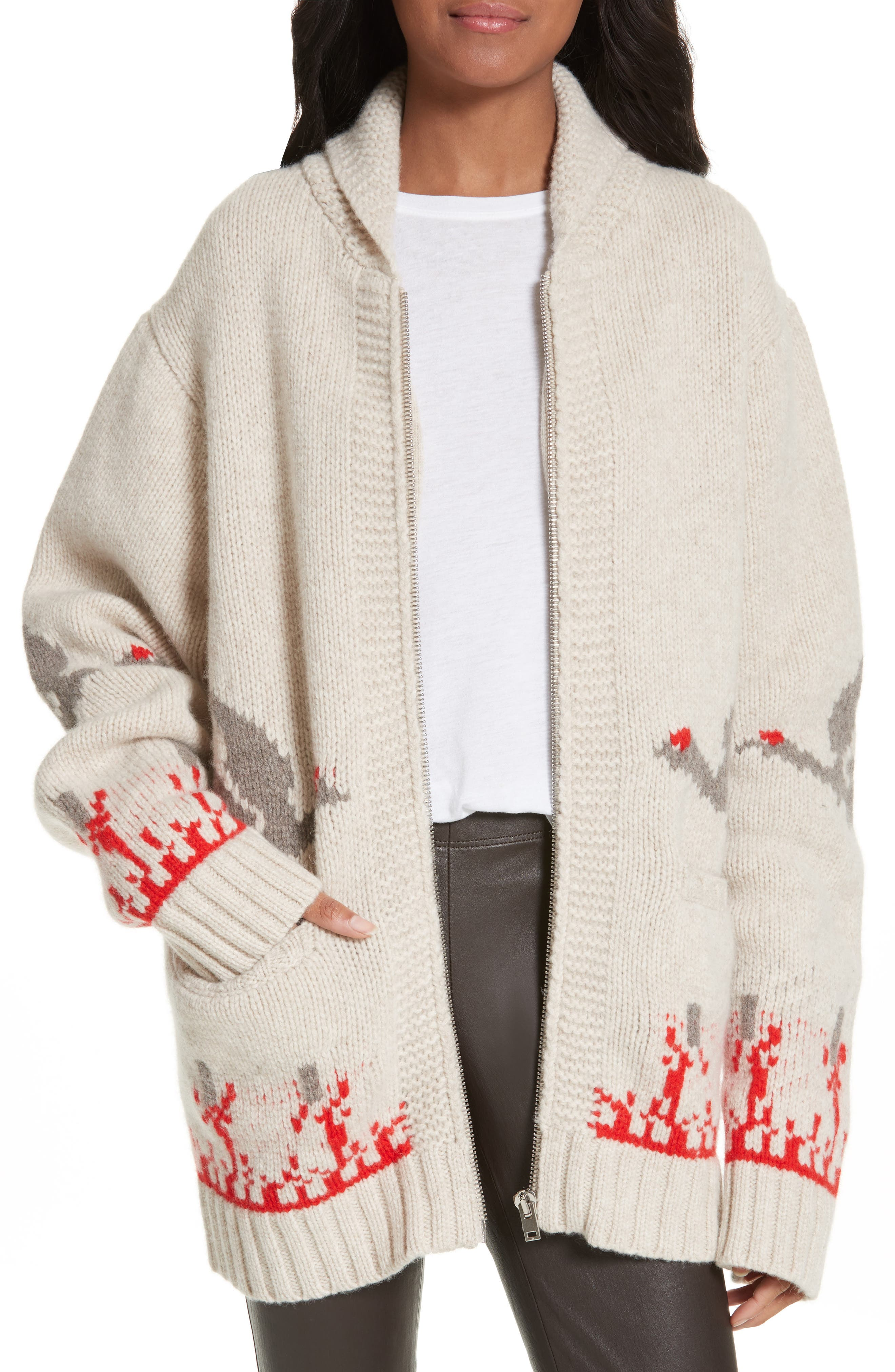 Chunky Intarsia Wool Cardigan,                         Main,                         color, Beige Chine