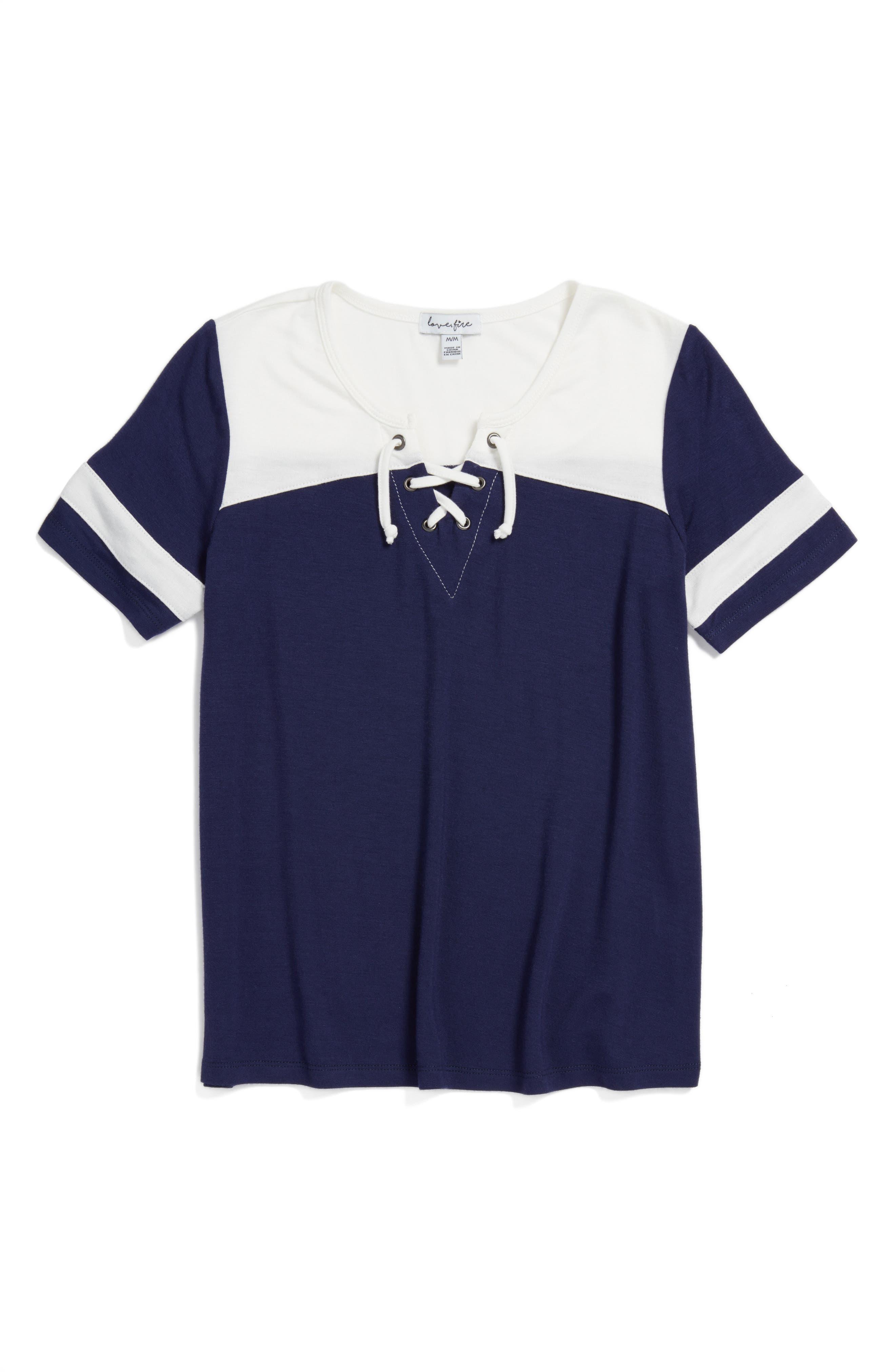 Main Image - Love, Fire Varsity Baseball Tee (Big Girls)