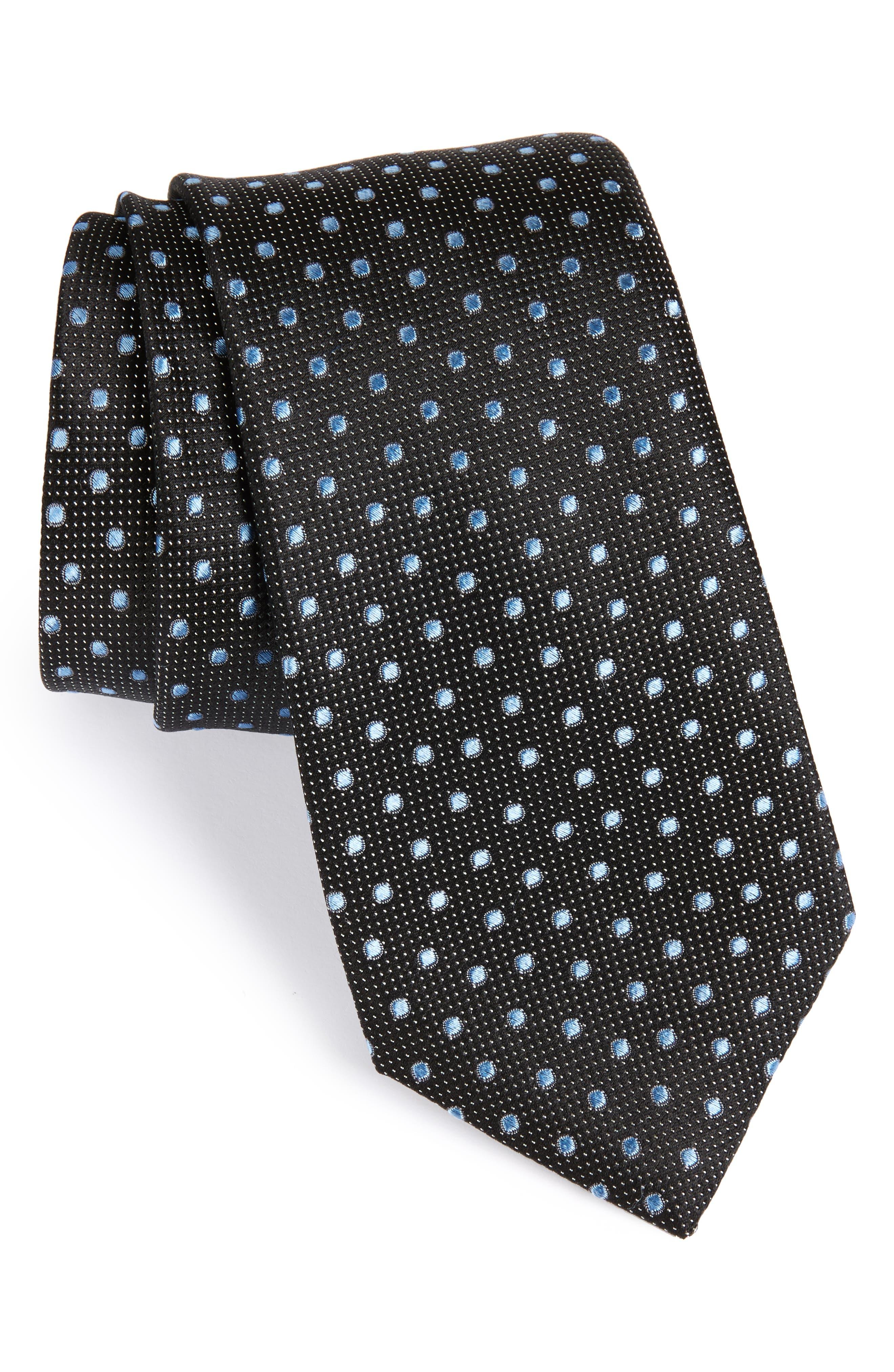 Double Dot Silk Tie,                         Main,                         color, Black