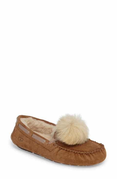 ugg bedroom slippers. UGG  Dakota Genuine Shearling Pompom Slipper Women Slippers for Nordstrom