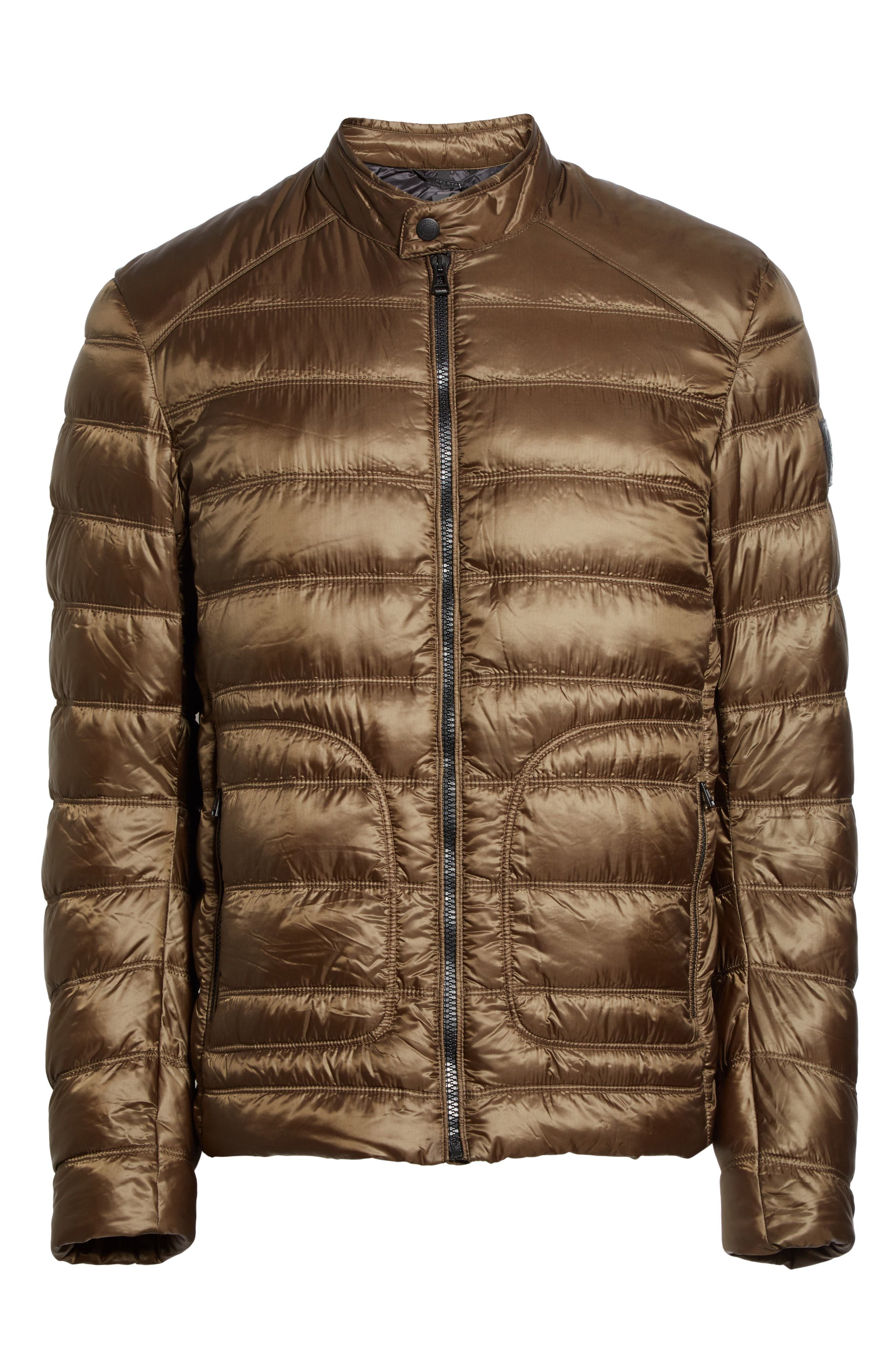 Halewood Quilted Down Jacket,                             Alternate thumbnail 6, color,                             Dark Moss Green
