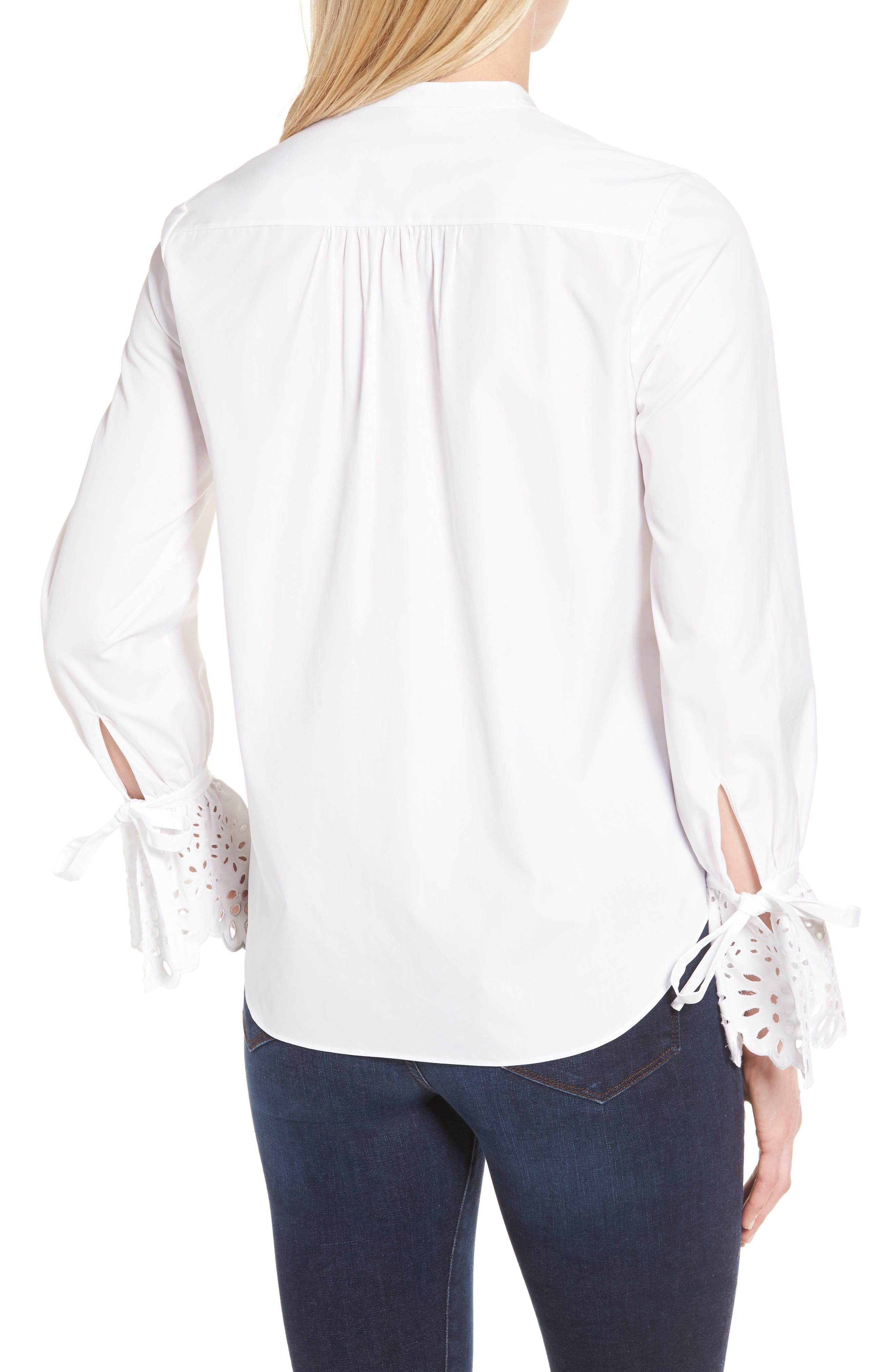 Alternate Image 2  - Nordstrom Signature Eyelet Cuff Poplin Blouse