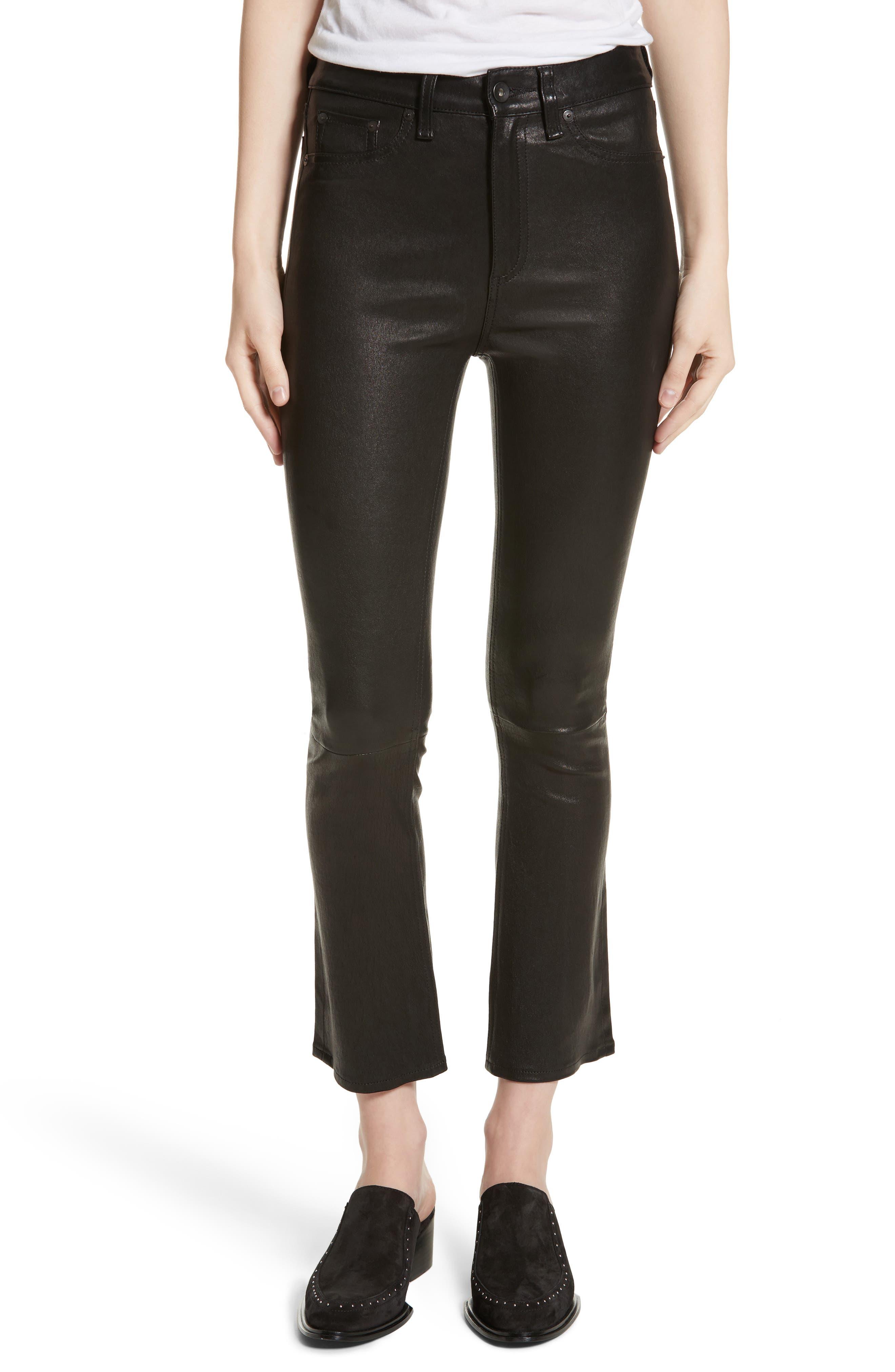 Hana Crop Flare Leather Pants,                         Main,                         color, Black Leather