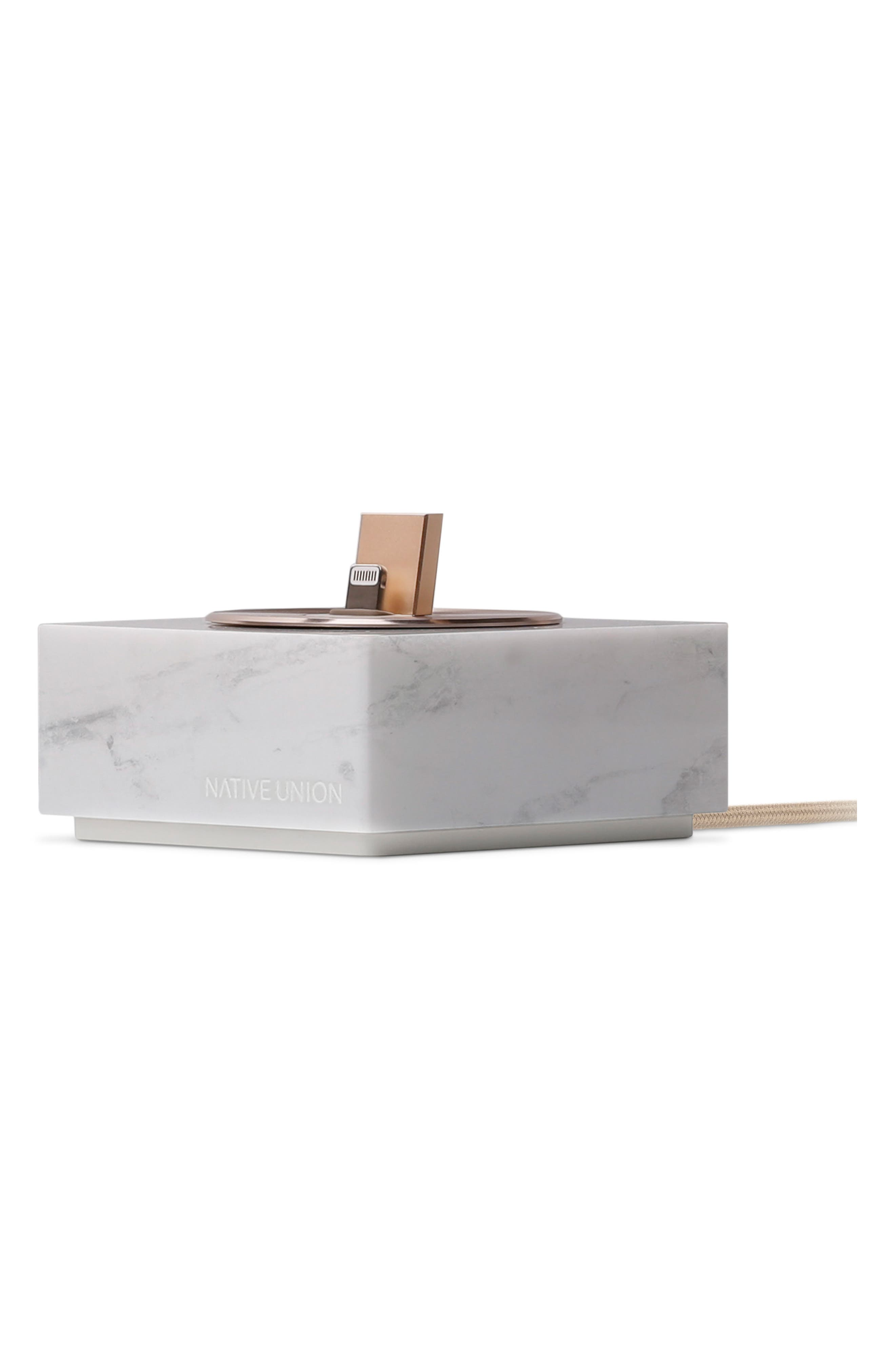 DOCK+ Marble Charging Station with Lightning Cable,                         Main,                         color, White Marble