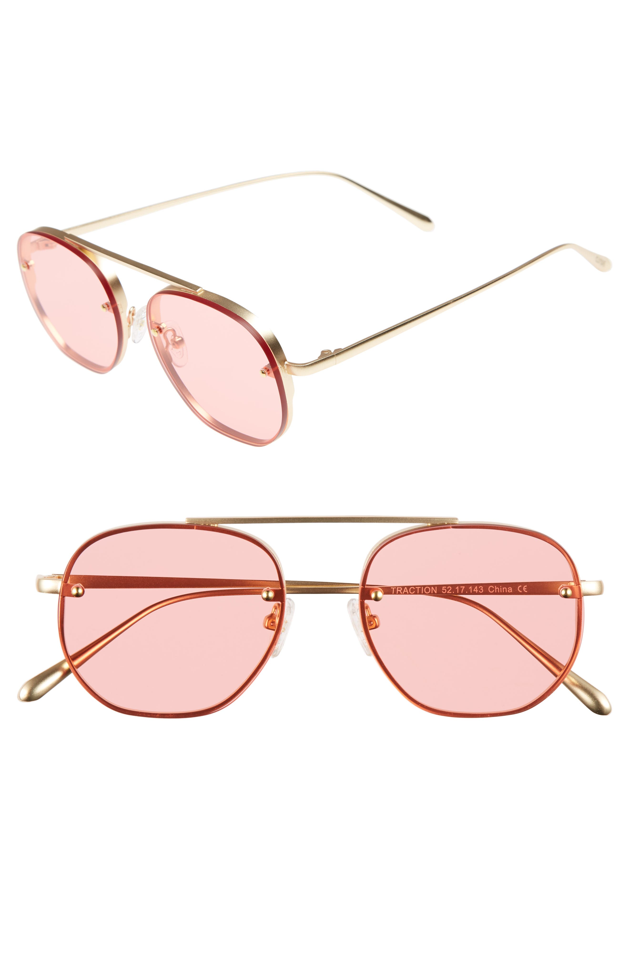Traction 52mm Aviator Sunglasses,                         Main,                         color, Red Tint