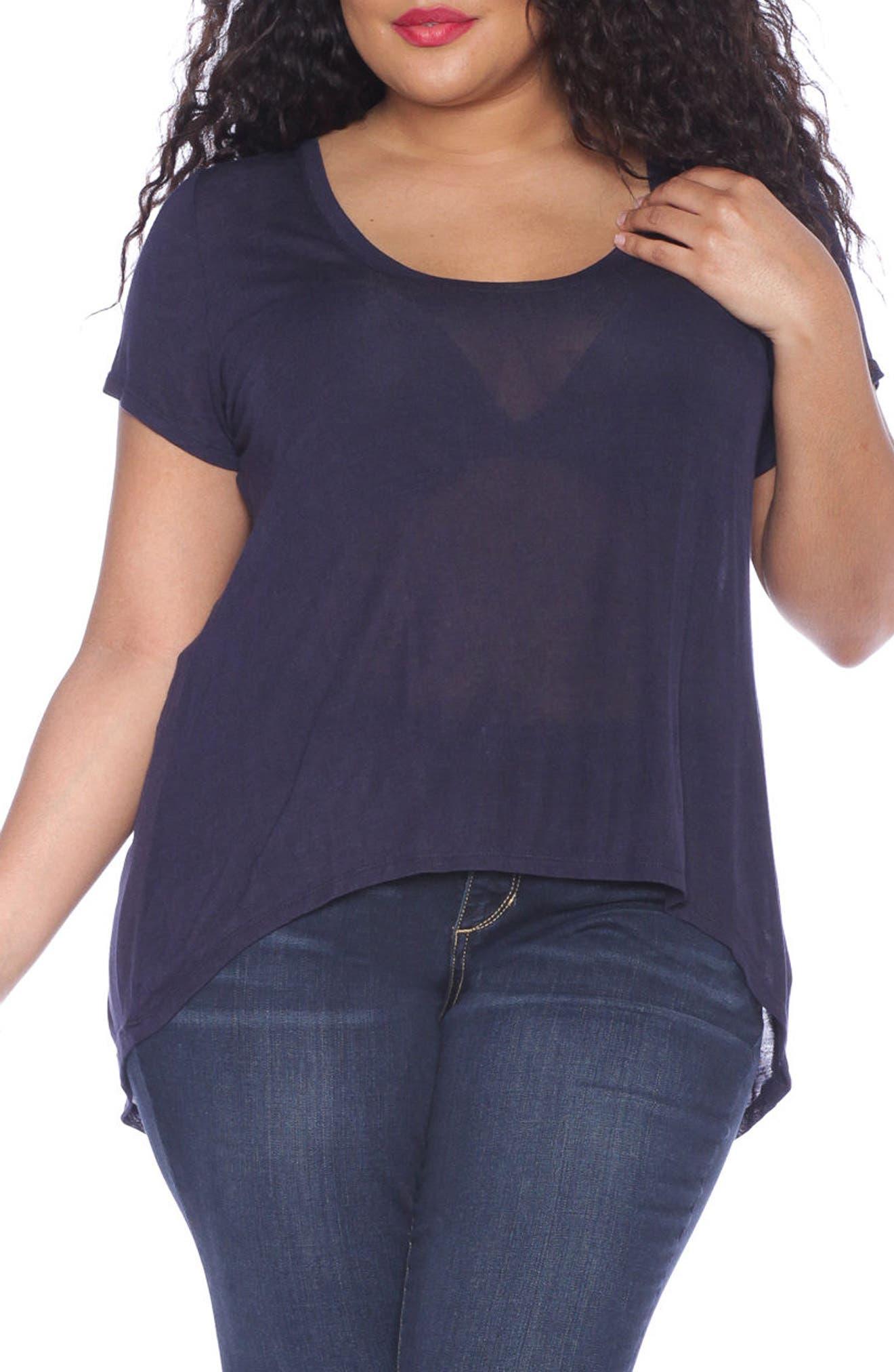 SLINK Jeans High/Low Scoop Neck Tee (Plus Size)