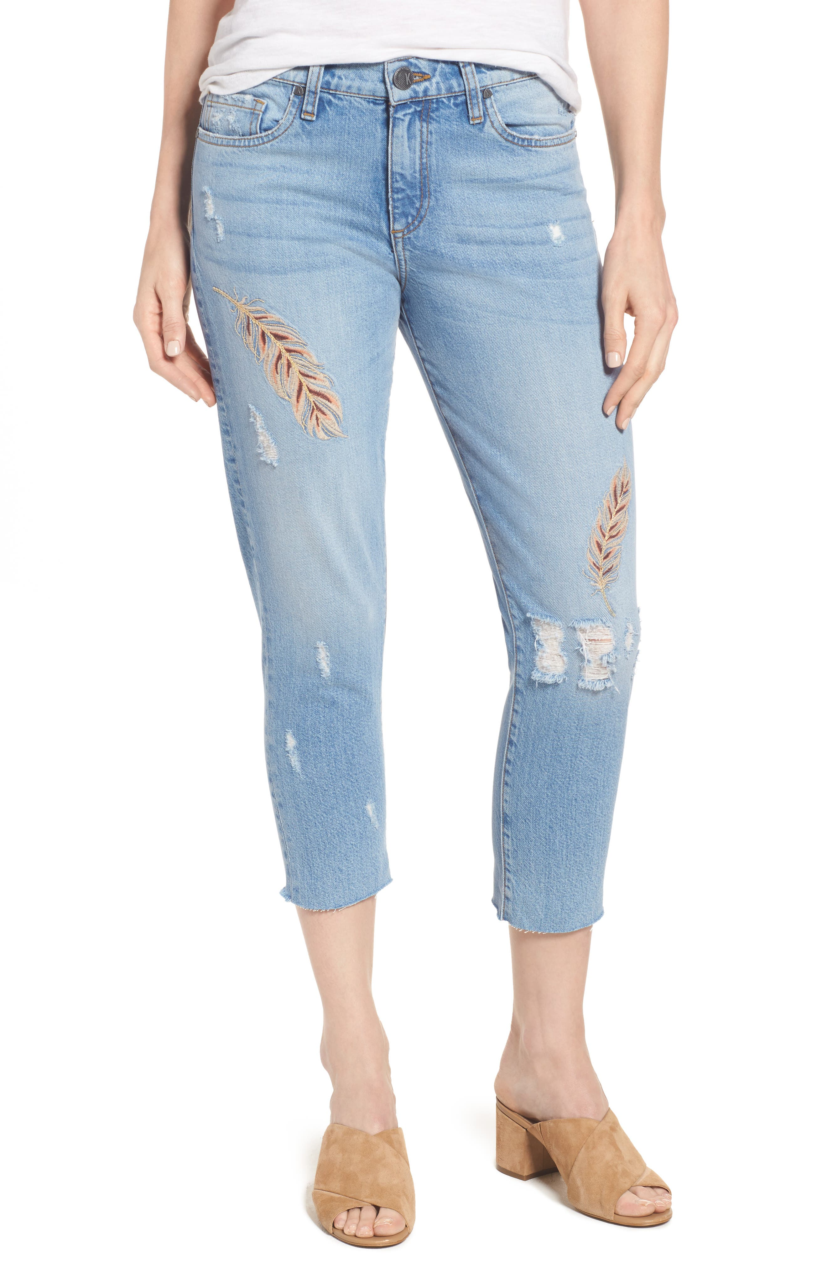 Alternate Image 1 Selected - KUT from the Kloth Allie Crop Boyfriend Jeans (Kingly)