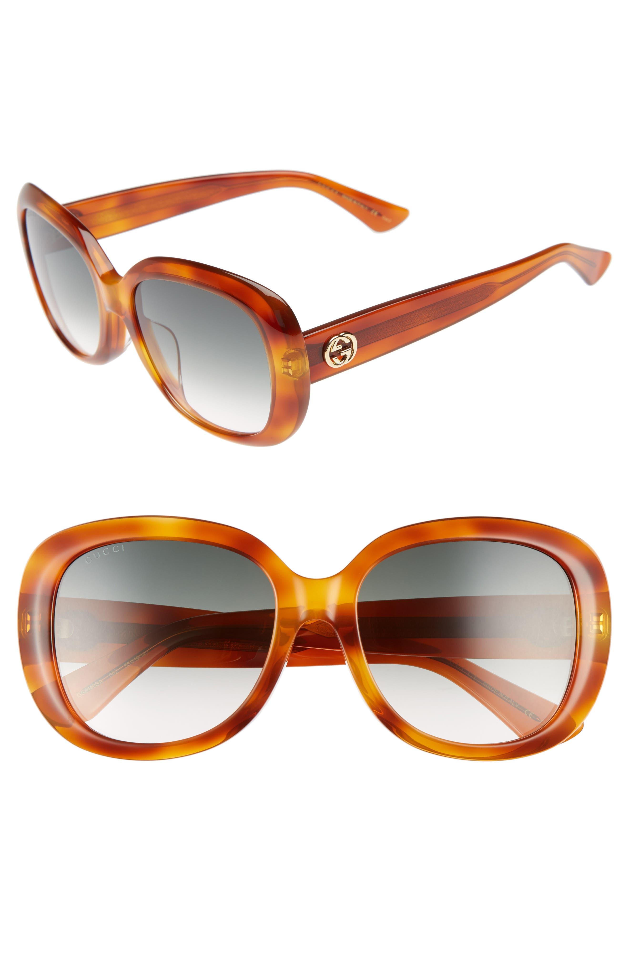 55mm Rectangular Sunglasses,                         Main,                         color, Havana/ Green