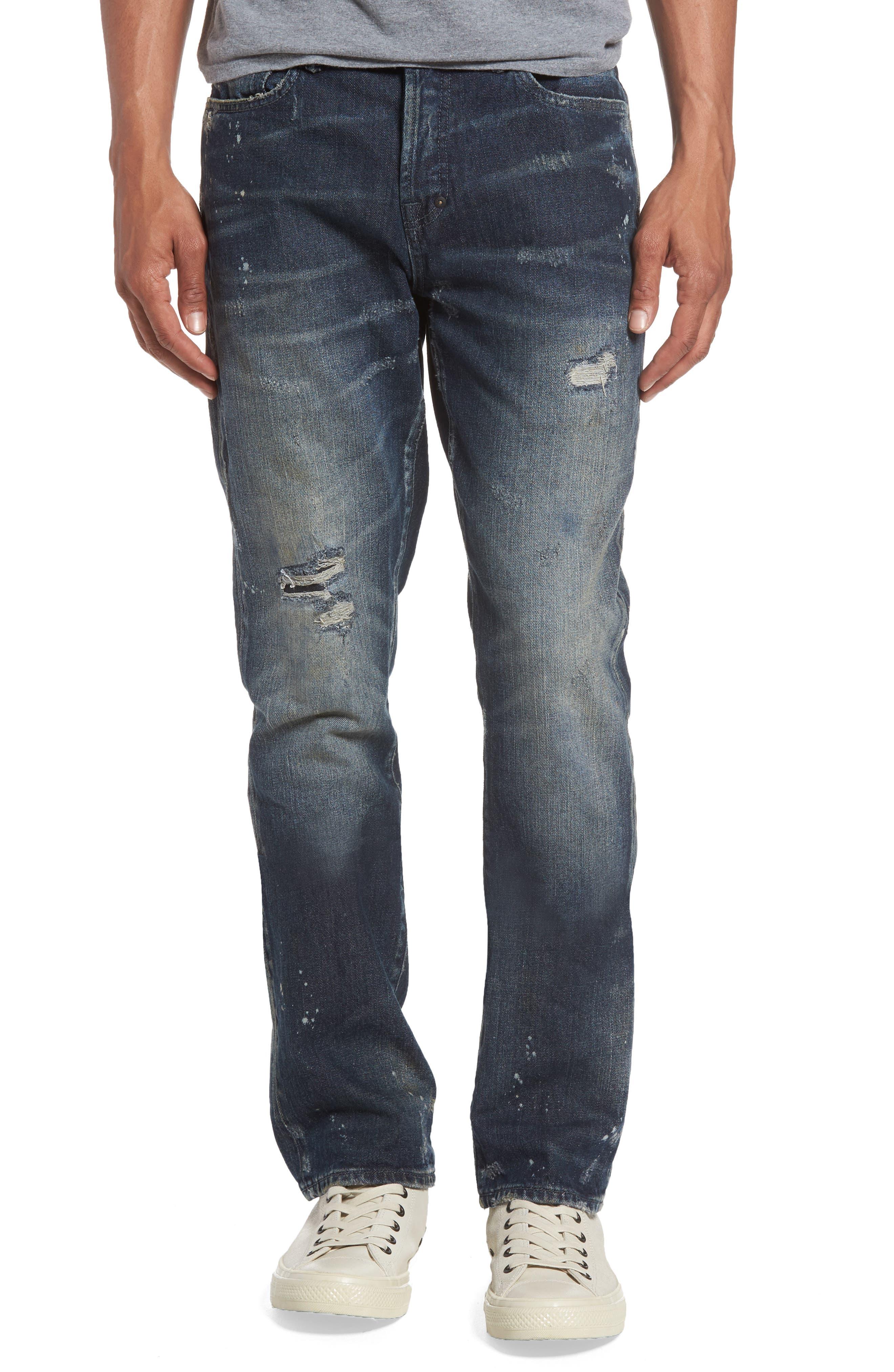 Demon Slim Straight Leg Jeans,                         Main,                         color, Dark Wash