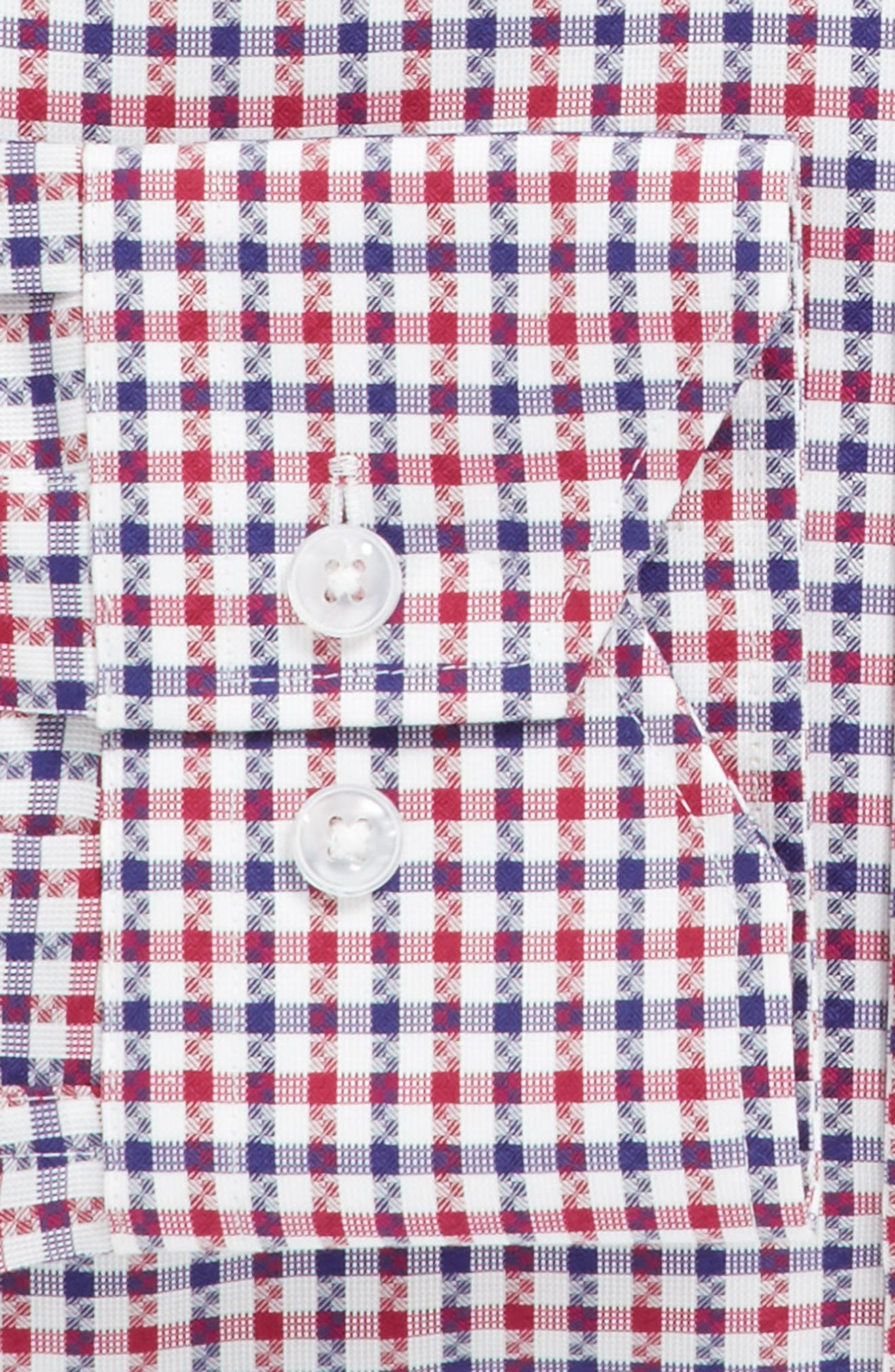 Trim Fit Check Dress Shirt,                             Alternate thumbnail 3, color,                             Red/ Navy
