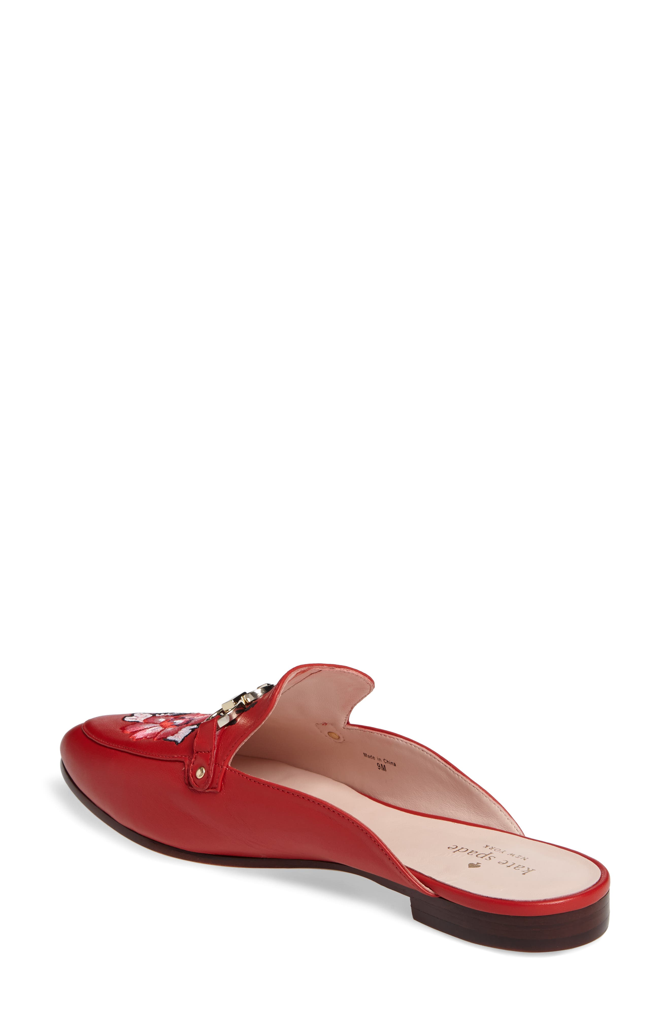 canyon embroidered loafer mule,                             Alternate thumbnail 2, color,                             Maraschino Red Nappa