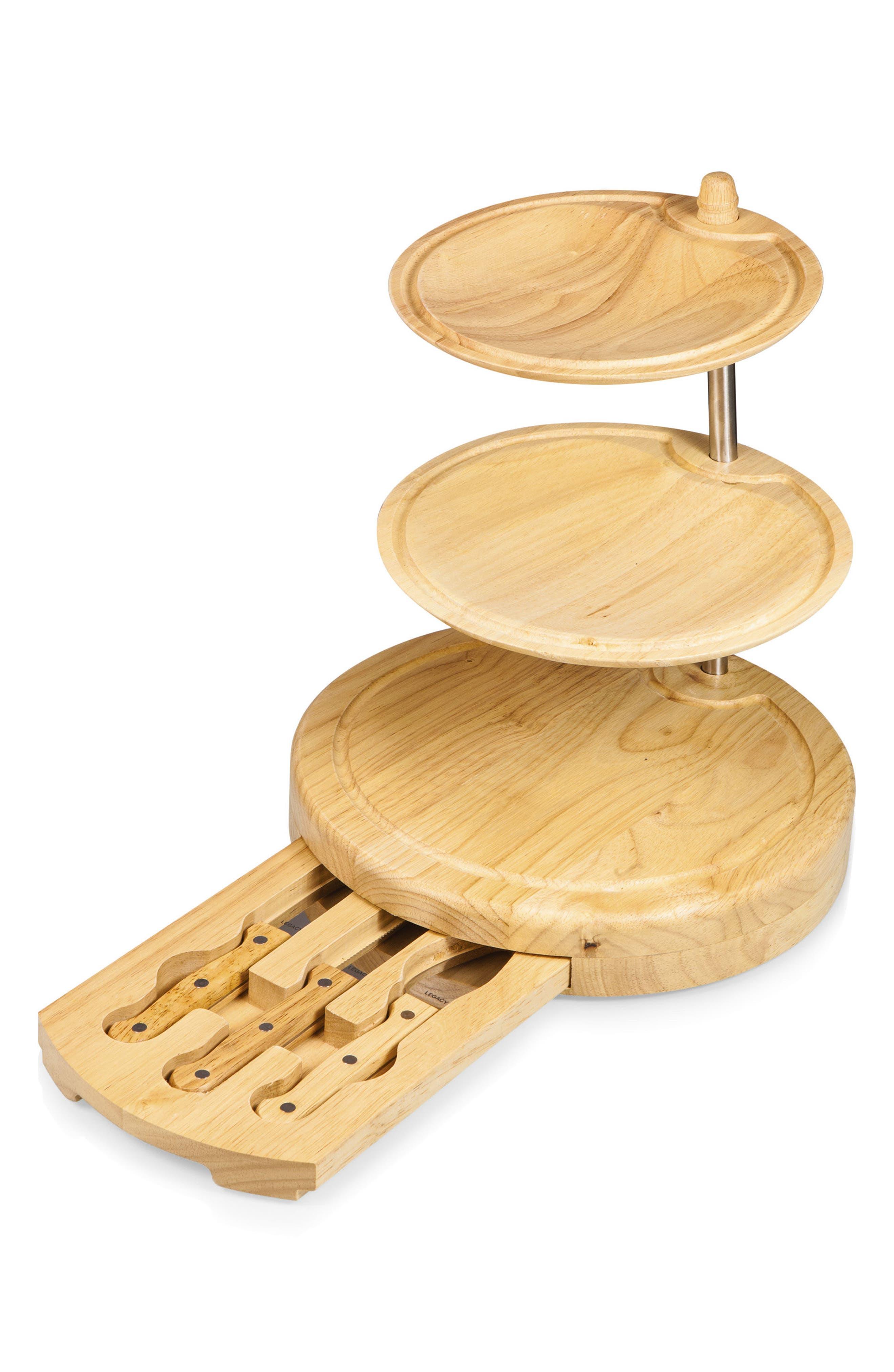 Regalio 3-Tier Cheese Board & Tool Set,                         Main,                         color, Brown